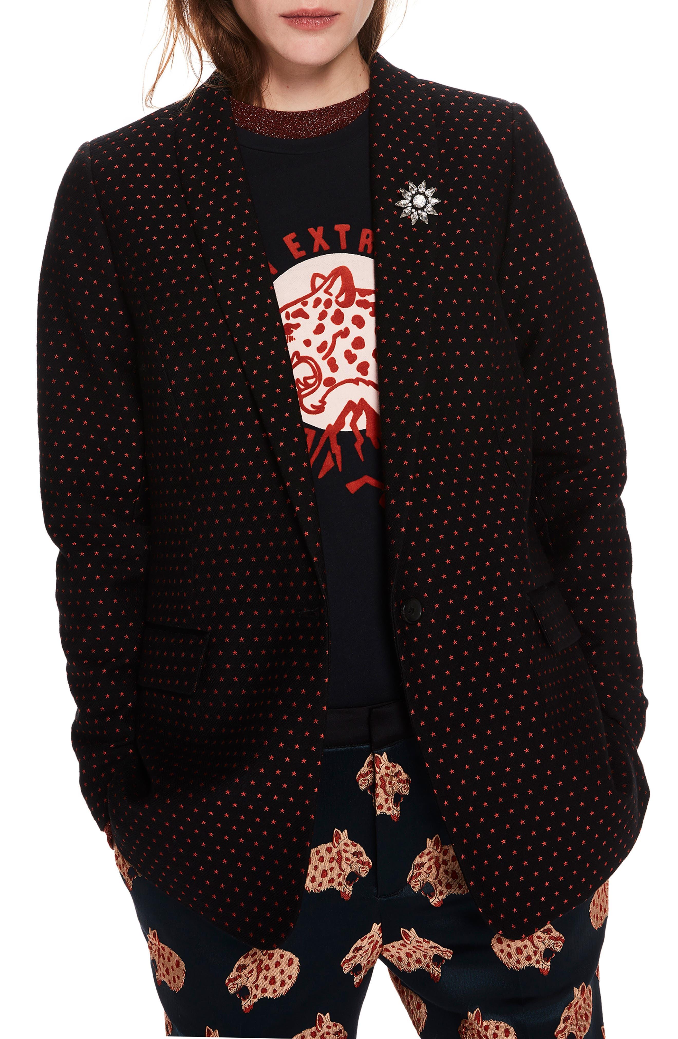 SCOTCH & SODA,                             Tailored Stretch Jacquard Blazer,                             Main thumbnail 1, color,                             BLACK W/ SMALL STAR PRINT