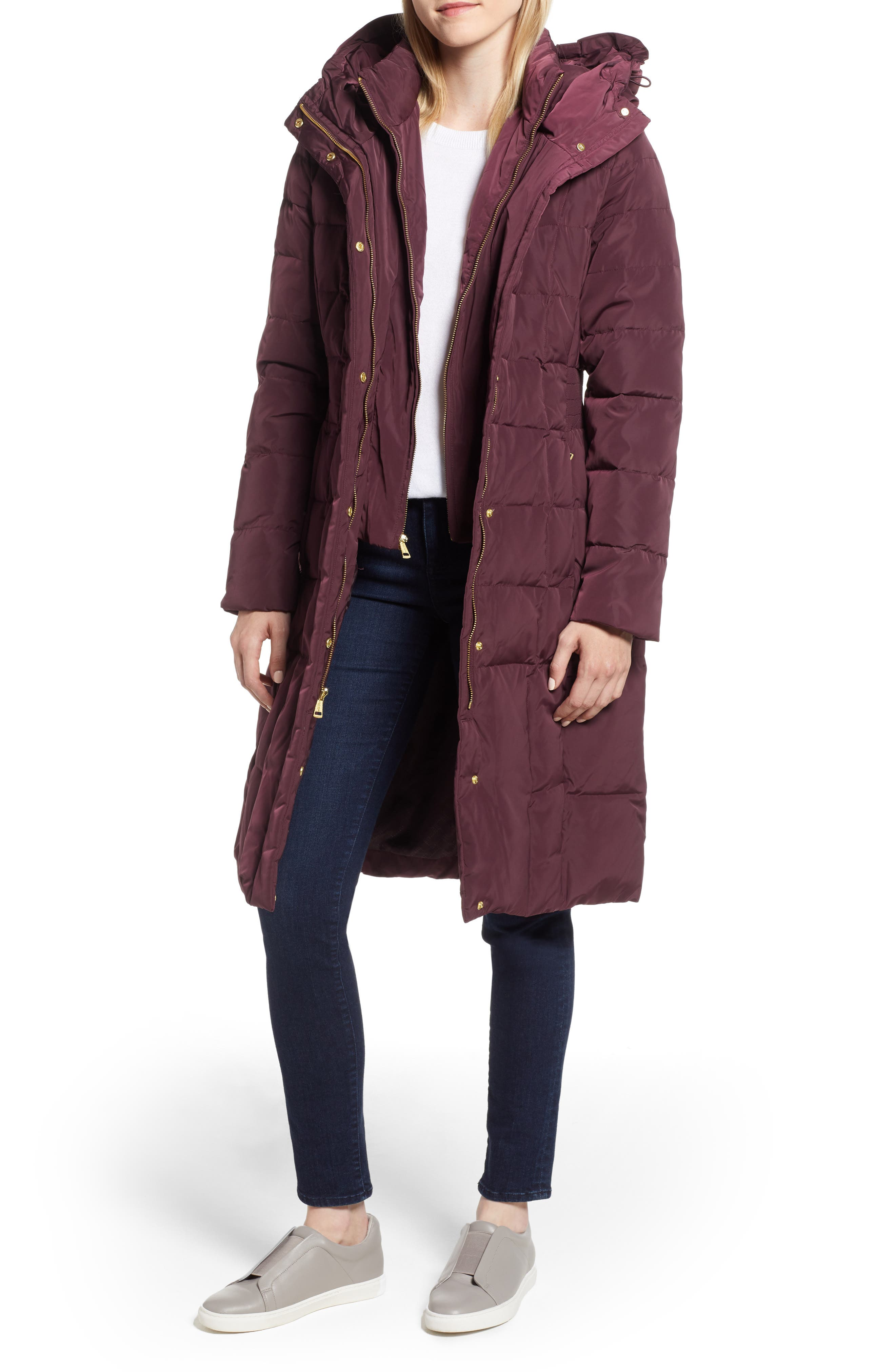 Cole Haan Bib Insert Down & Feather Fill Coat, Burgundy