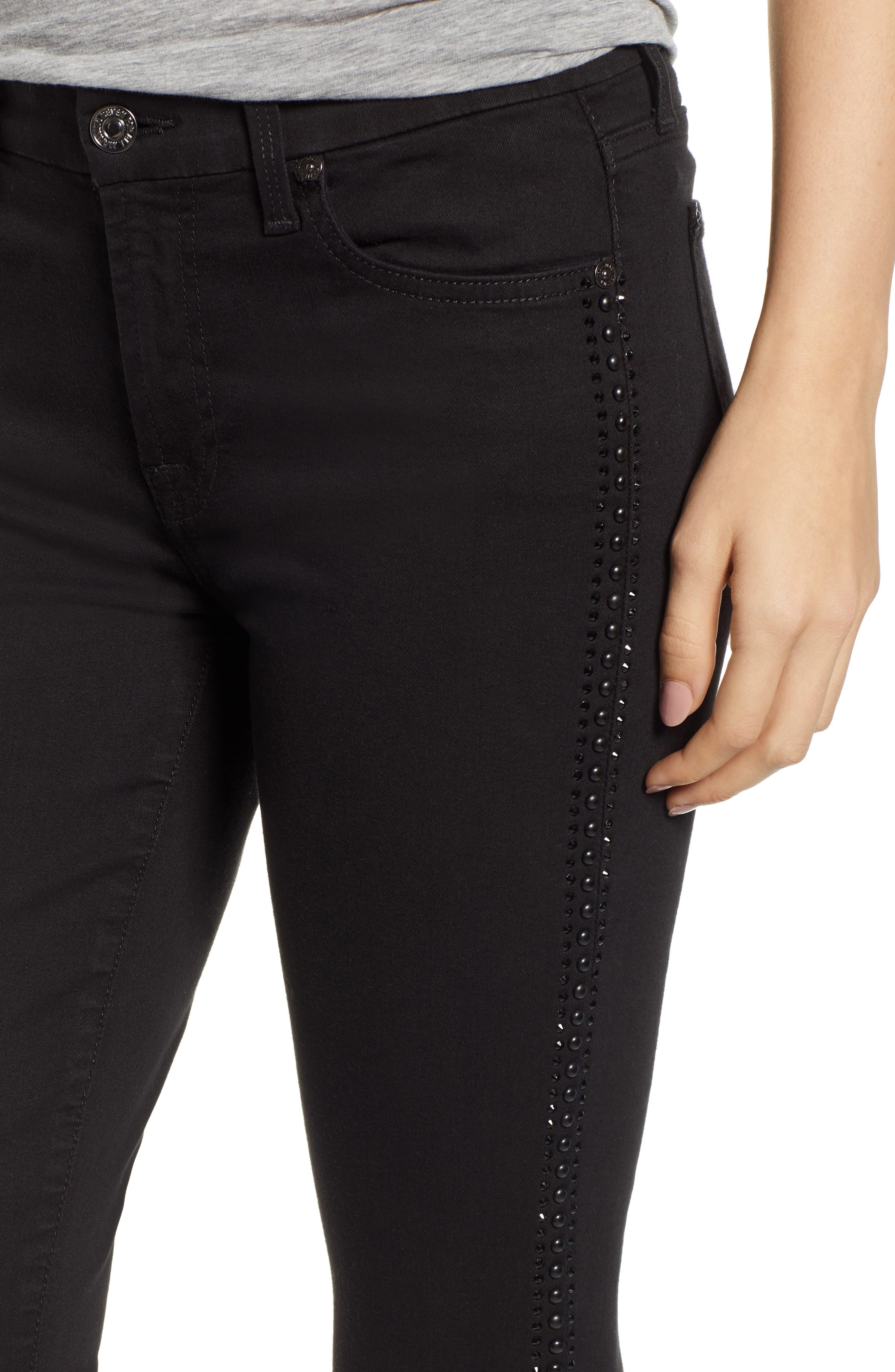 b(air) Coated Ankle Skinny Jeans,                             Alternate thumbnail 4, color,                             BLACK W/ CRYSTALS