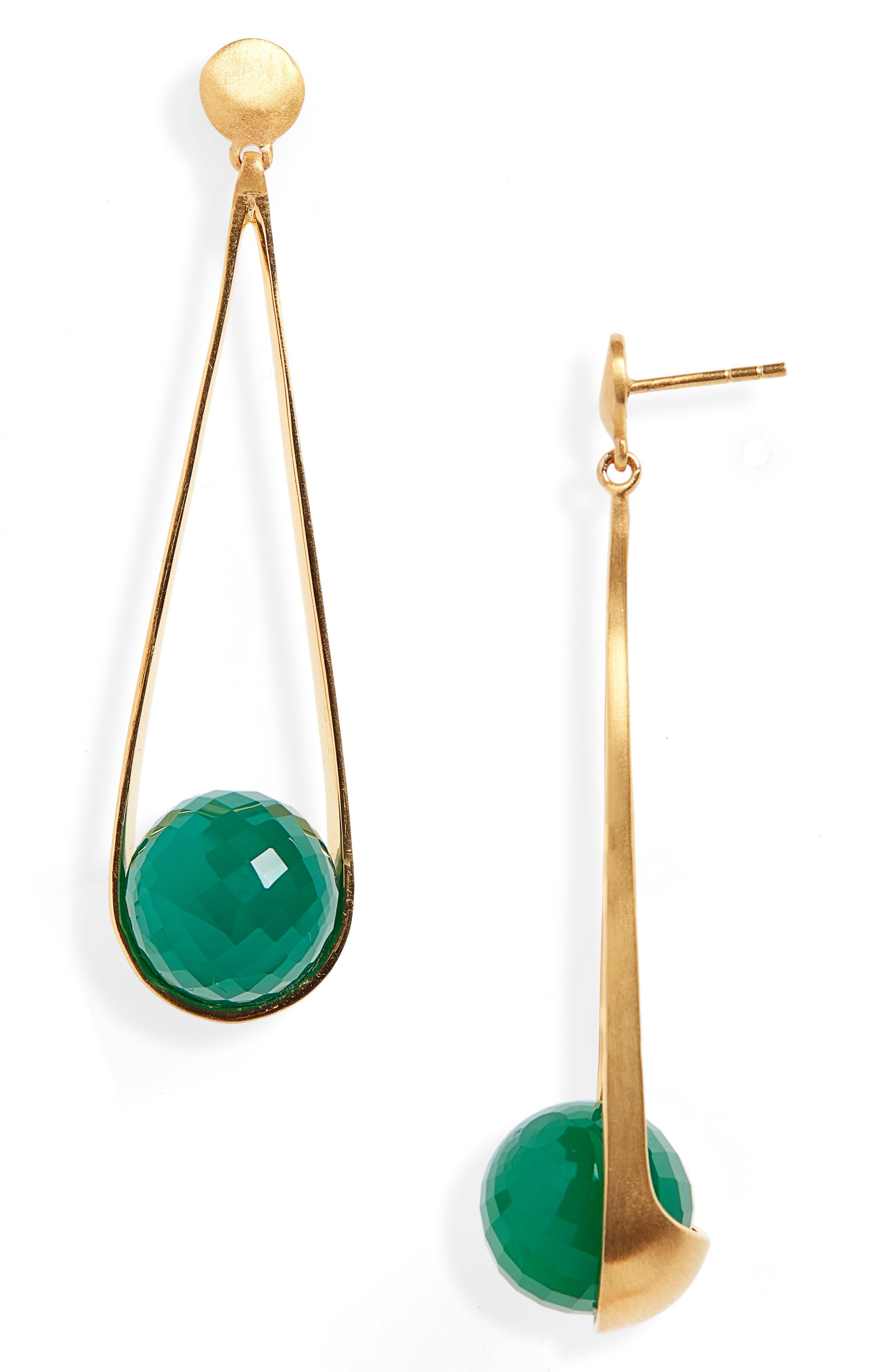 Ipanema Earrings,                             Main thumbnail 1, color,                             GREEN ONYX/ GOLD