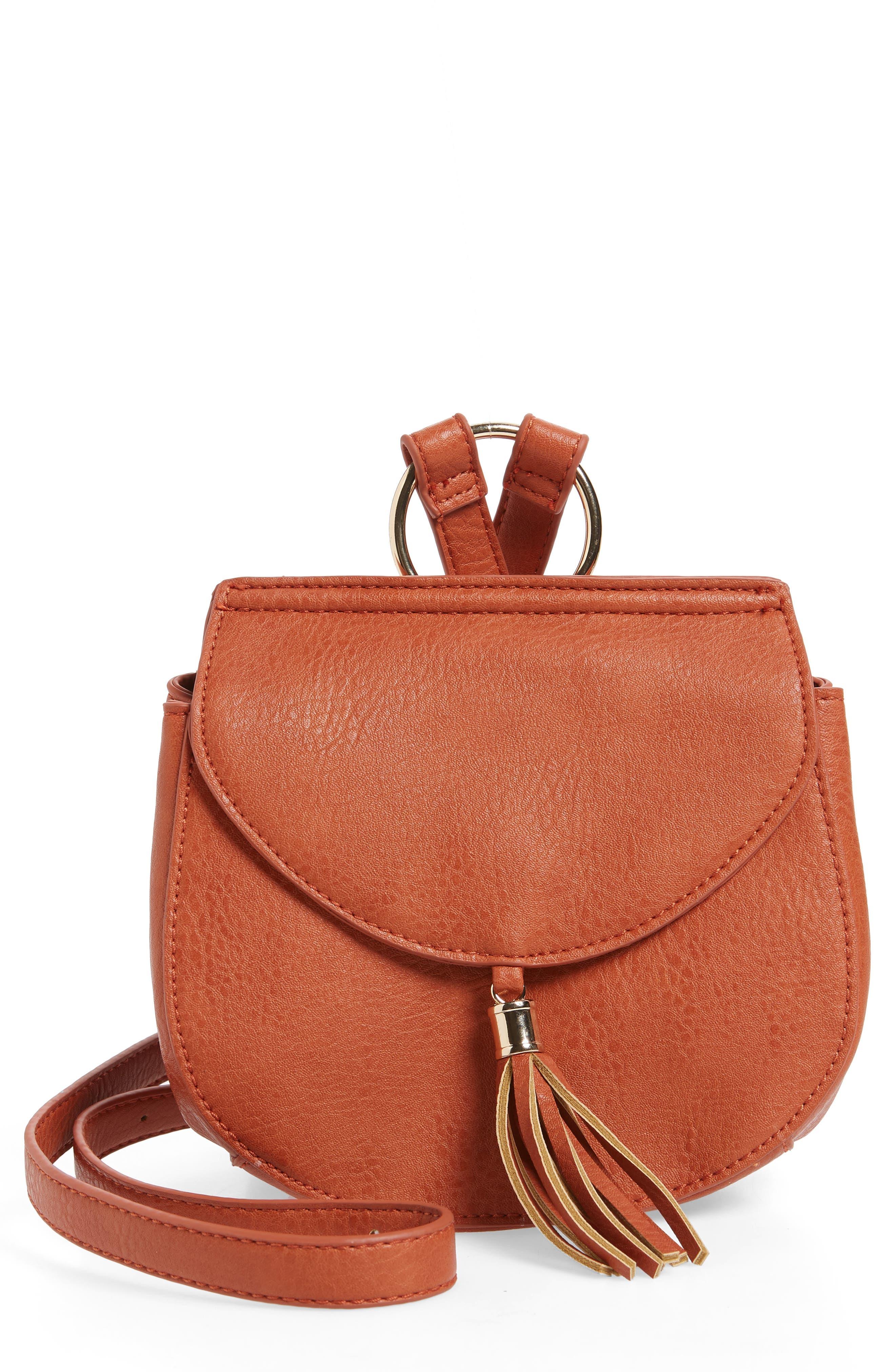 Tassel Faux Leather Crossbody Saddle Bag,                             Main thumbnail 2, color,
