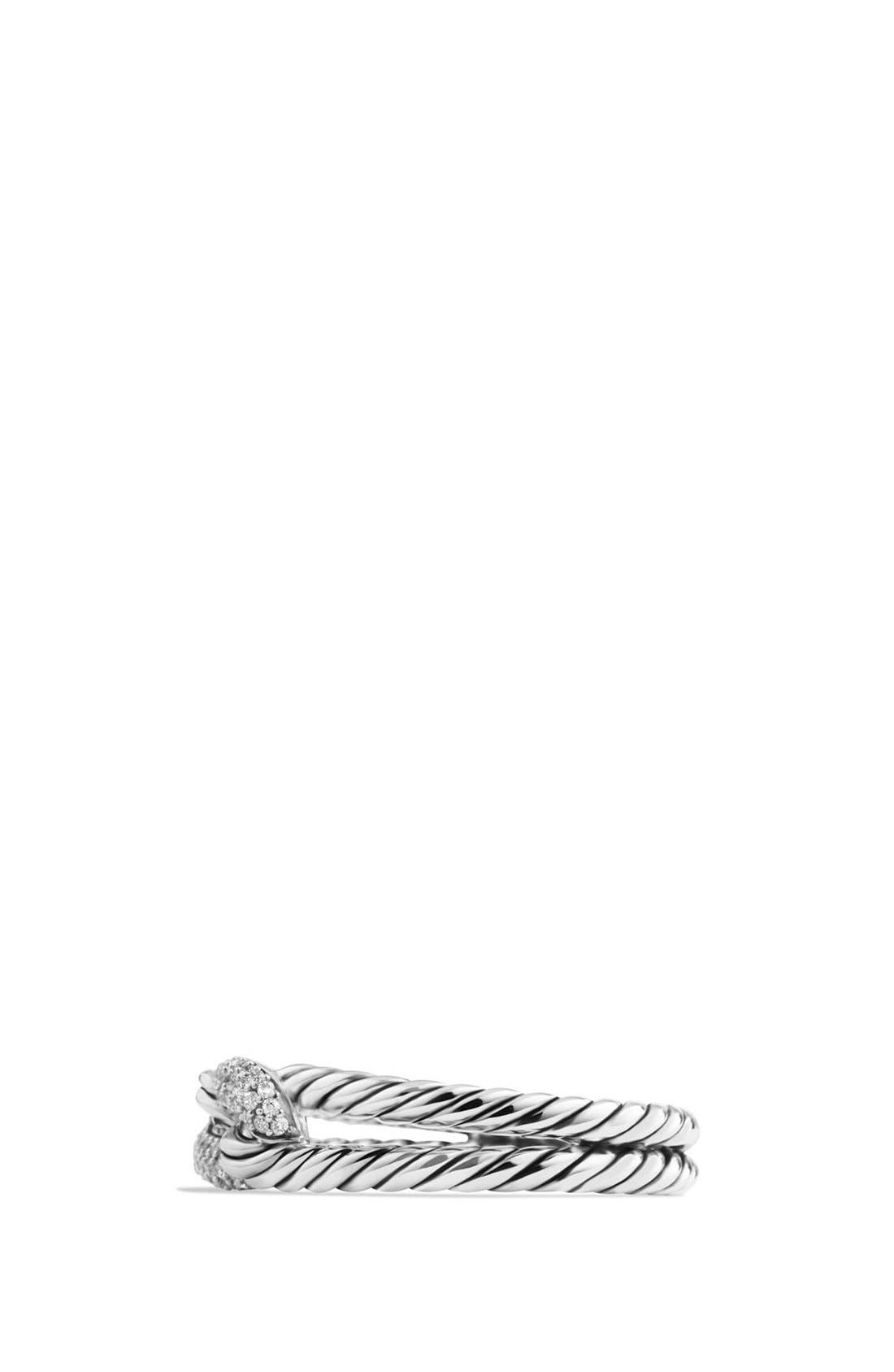 'Petite Pavé Loop Ring with Black Diamonds,                             Alternate thumbnail 5, color,                             SILVER
