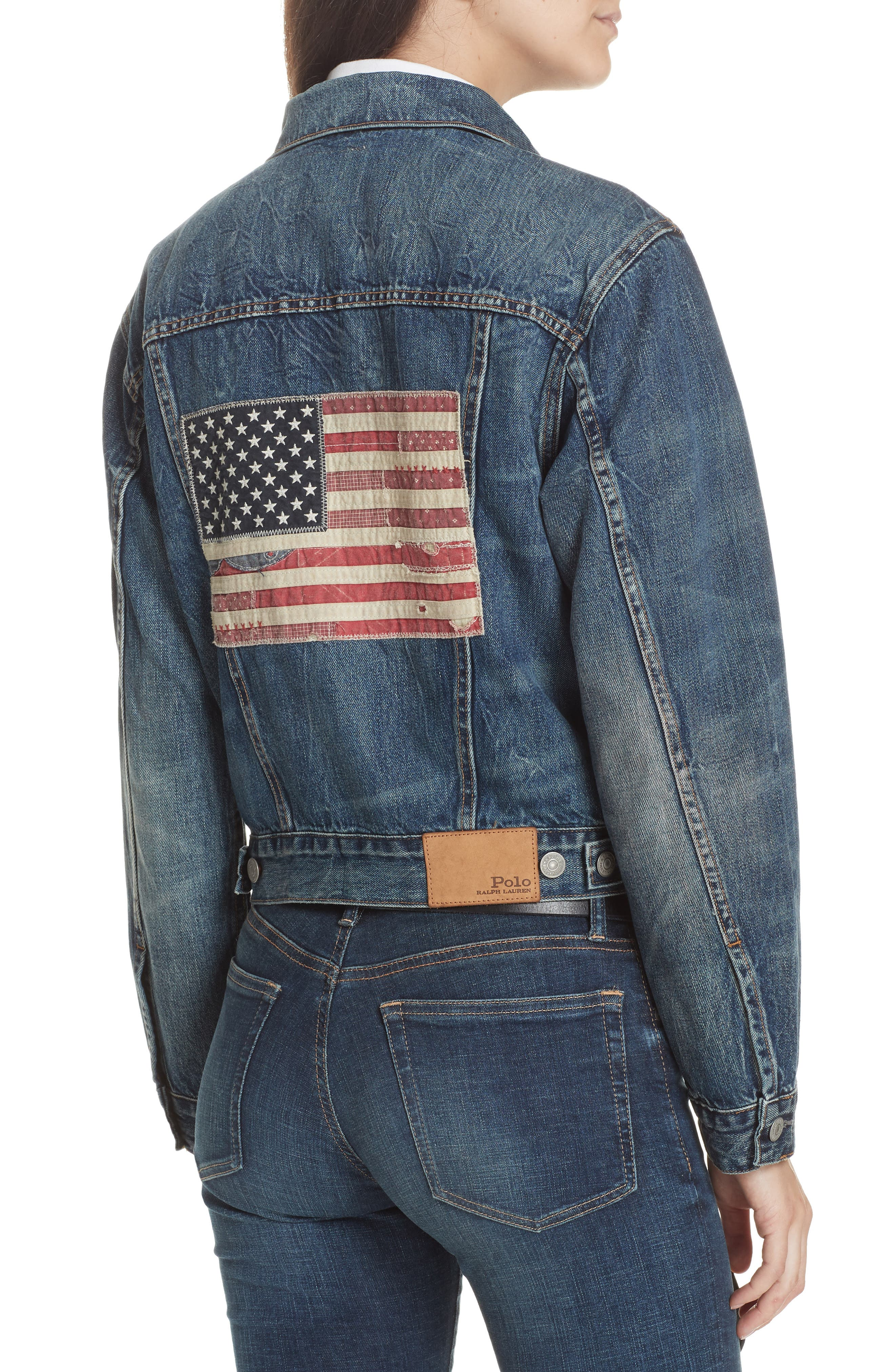 Flag Trucker Denim Jacket,                             Alternate thumbnail 2, color,                             DARK INDIGO