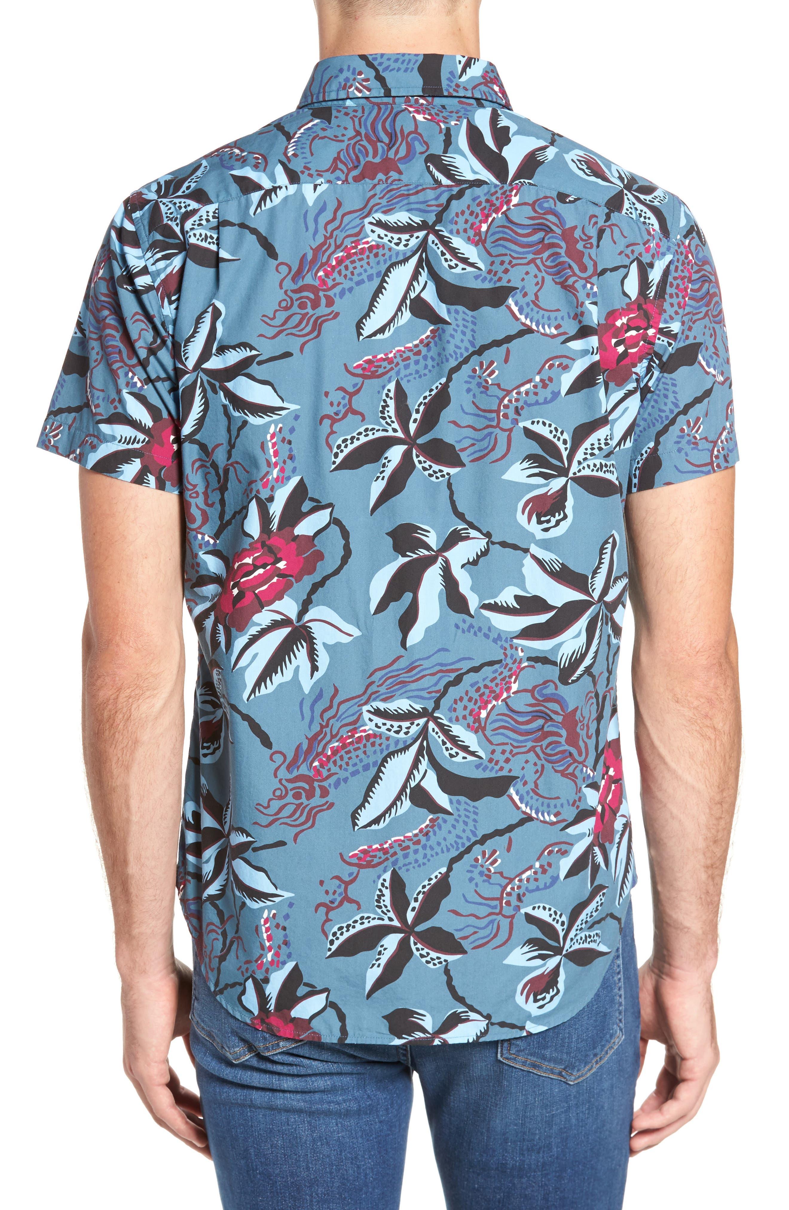 Slim Fit Floral Print Sport Shirt,                             Alternate thumbnail 2, color,                             400