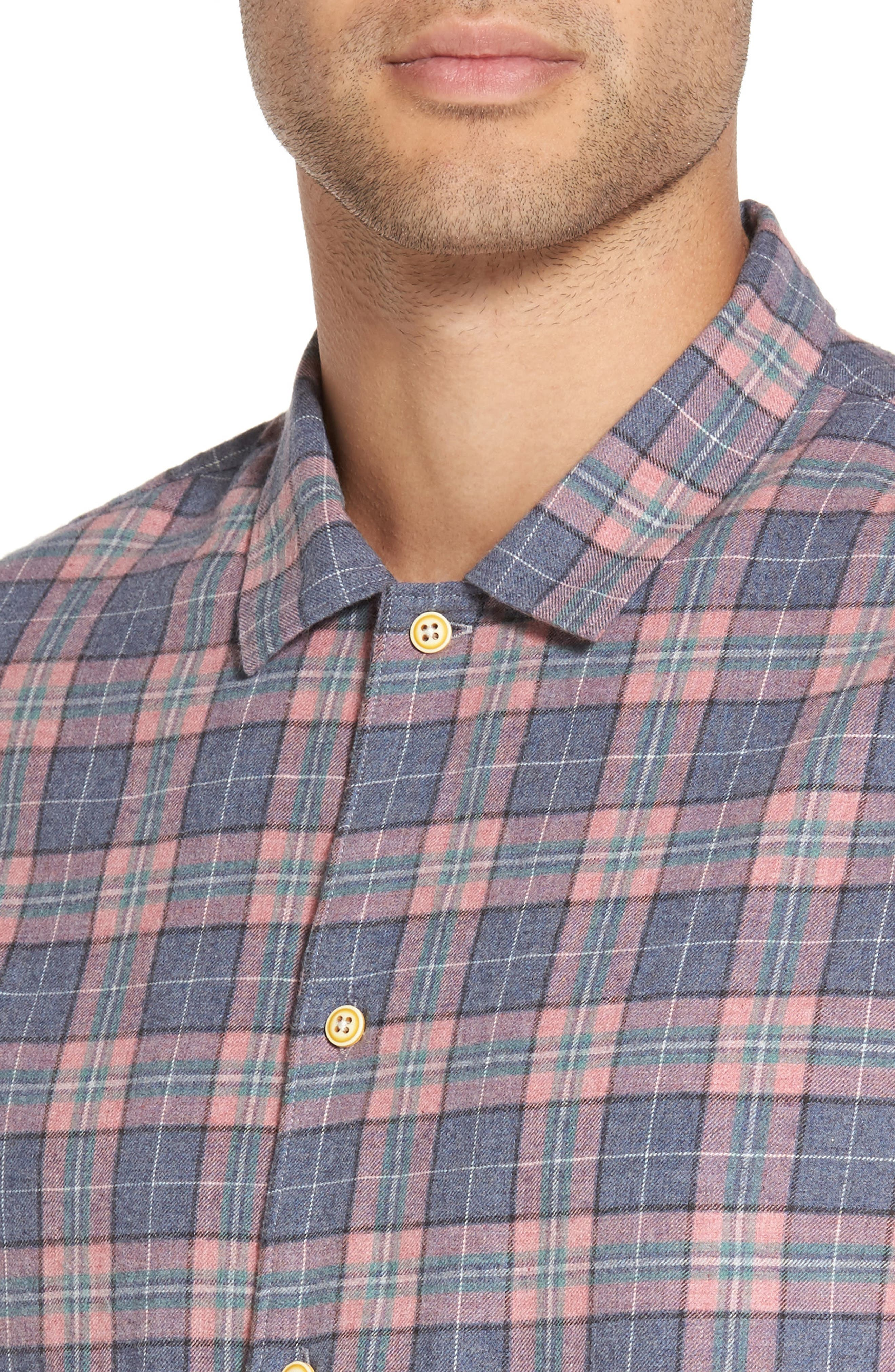Florida Short Sleeve Plaid Shirt,                             Alternate thumbnail 4, color,                             450