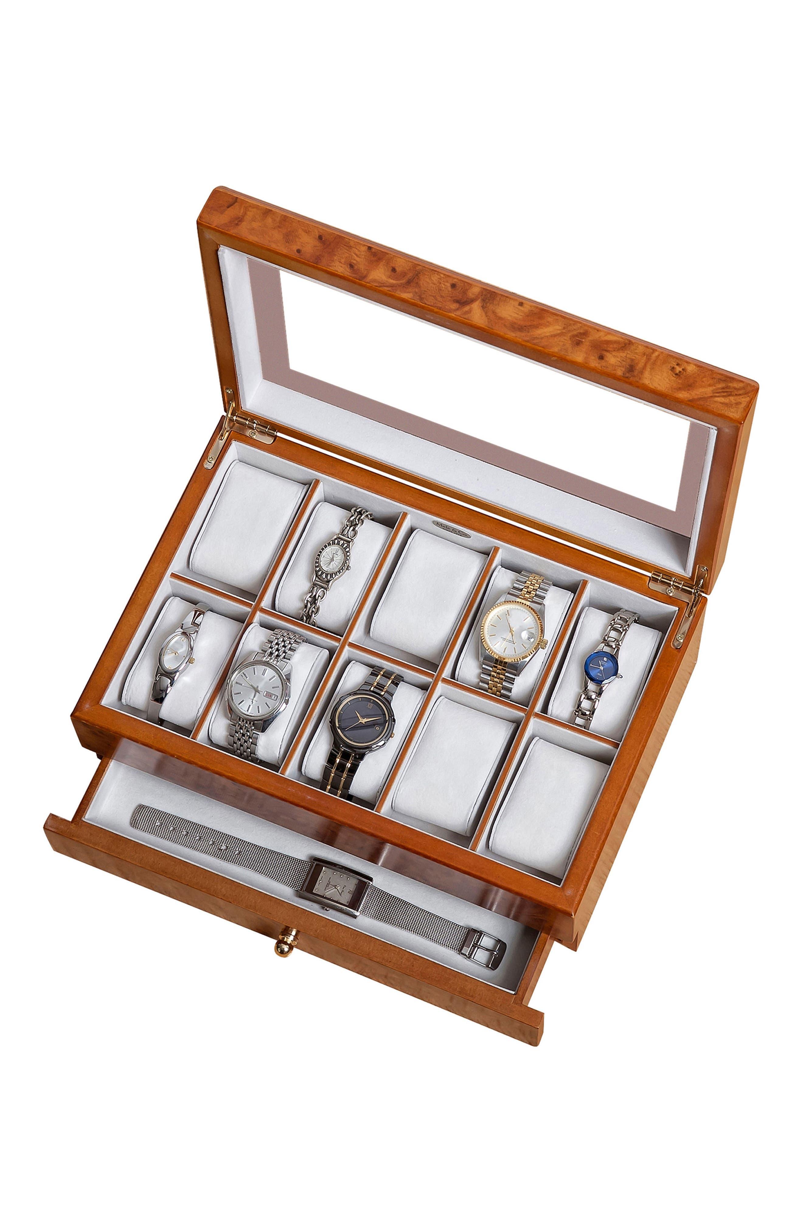 Peyton Glass Top Watch Box,                             Alternate thumbnail 3, color,                             BROWN