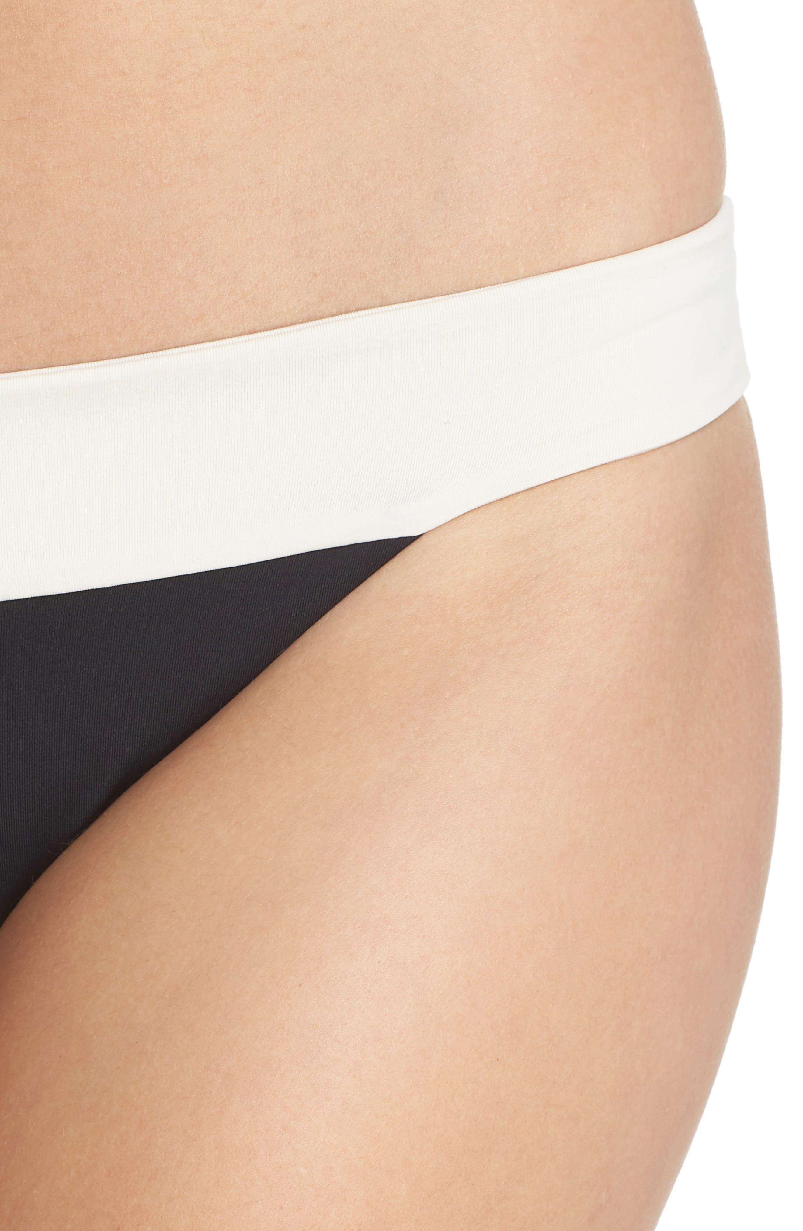 Reversible Bikini Bottom,                             Alternate thumbnail 4, color,                             CREAM/ BLACK/ CAMEL