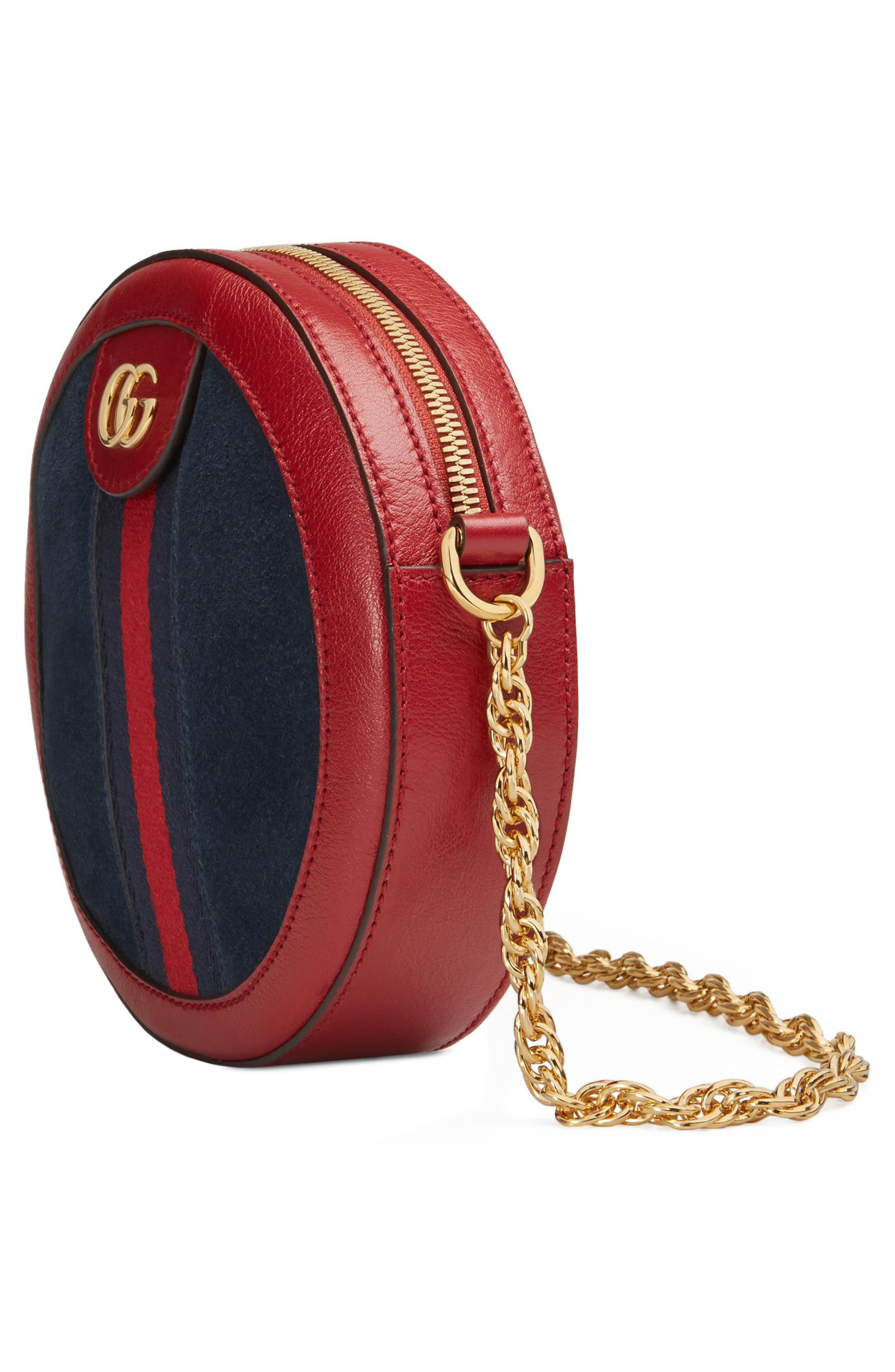 Ophidia Small Suede & Leather Circle Crossbody Bag,                             Alternate thumbnail 4, color,                             NEW BLU/ ROMANTIC CERISE