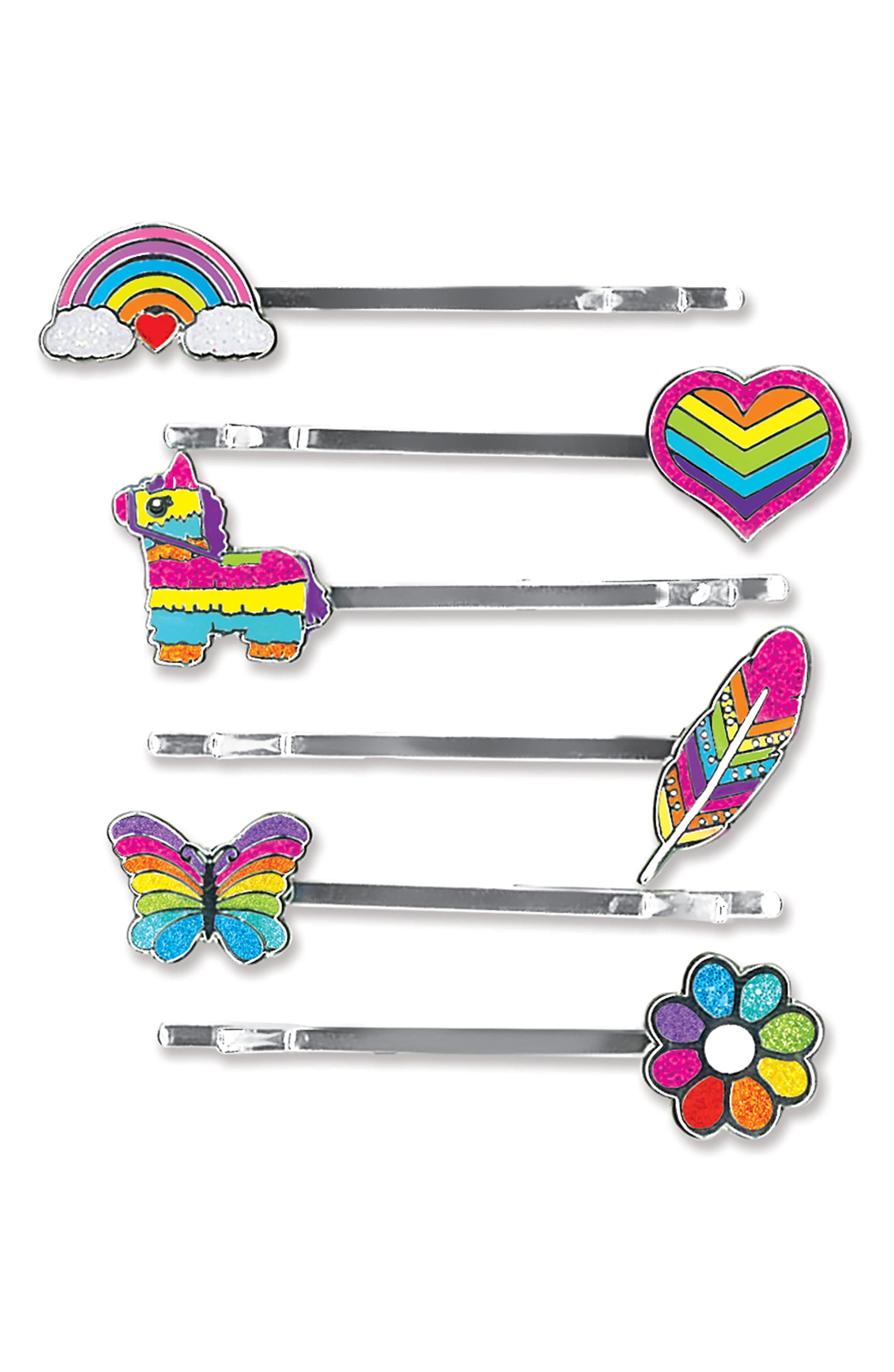 CHARM IT!<sup>®</sup> Party 6-Pack Rainbow Bobby Pins,                             Main thumbnail 1, color,