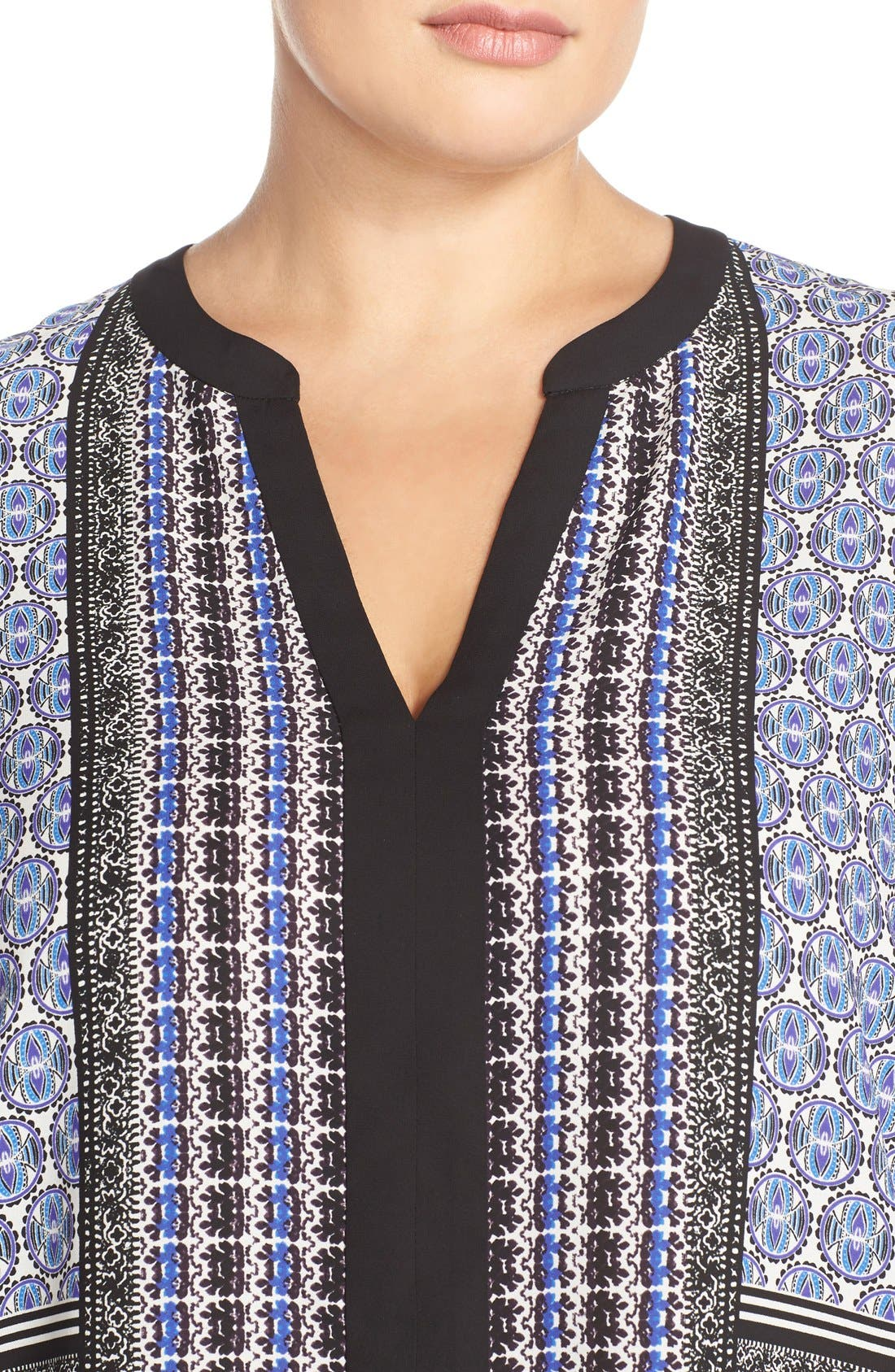 Print Split Neck Tunic,                             Alternate thumbnail 3, color,                             402