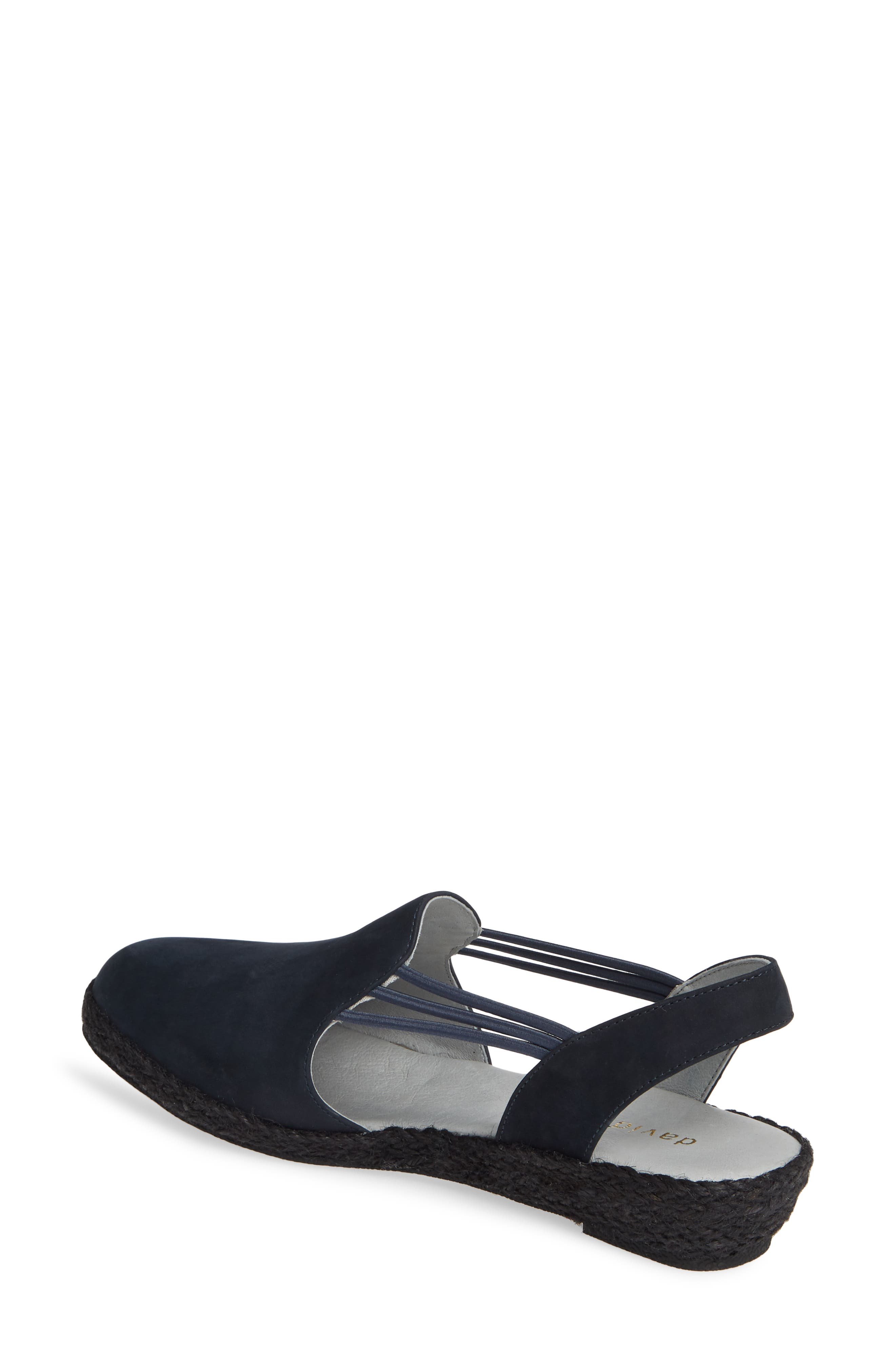 DAVID TATE,                             'Nelly' Slingback Wedge Sandal,                             Alternate thumbnail 2, color,                             NAVY NUBUCK LEATHER