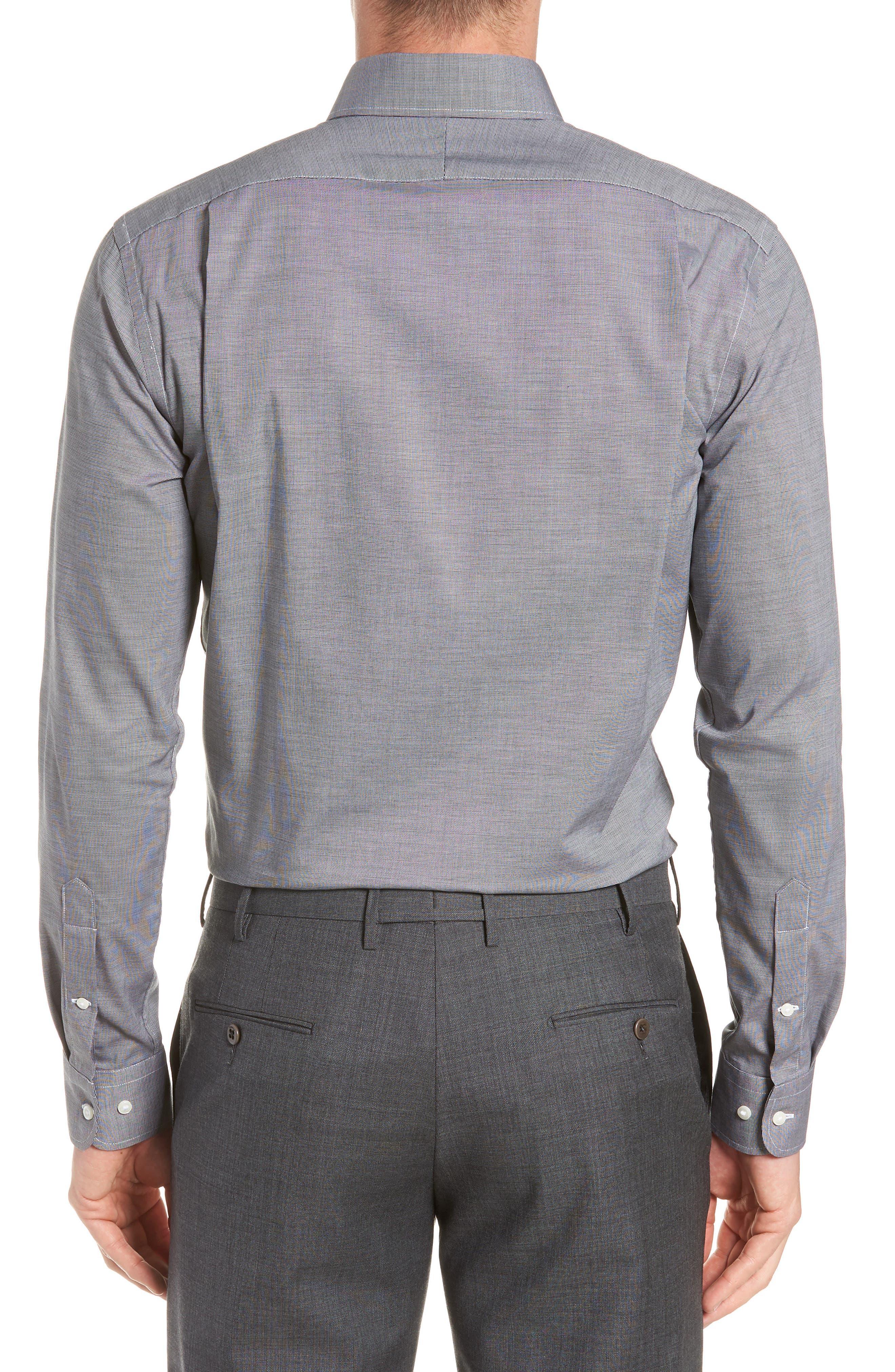 Trim Fit Non-Iron Dress Shirt,                             Alternate thumbnail 3, color,                             BLACK ROCK