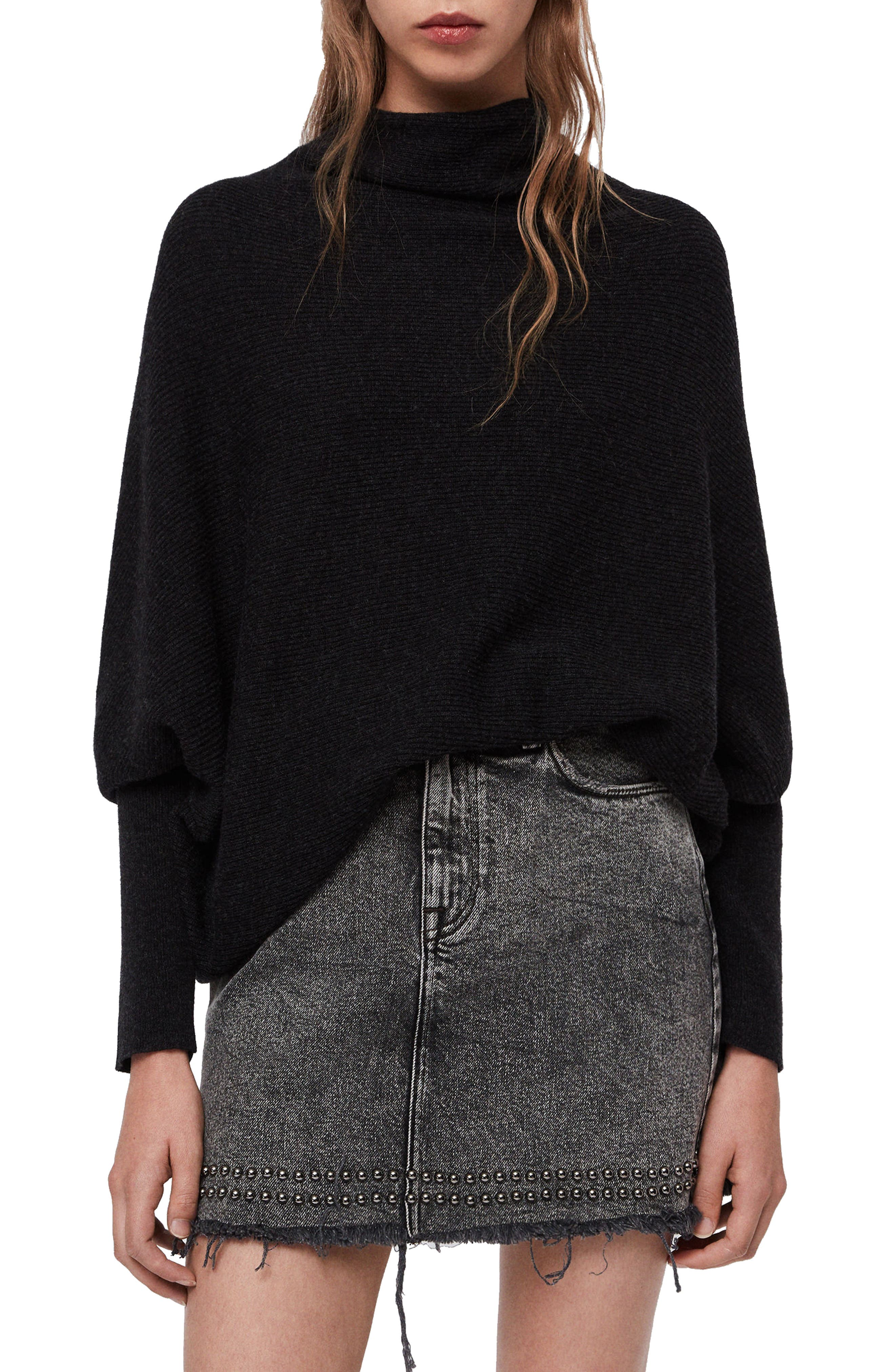 Allsaints Ridley Funnel Neck Wool Cashmere Sweater Nordstrom