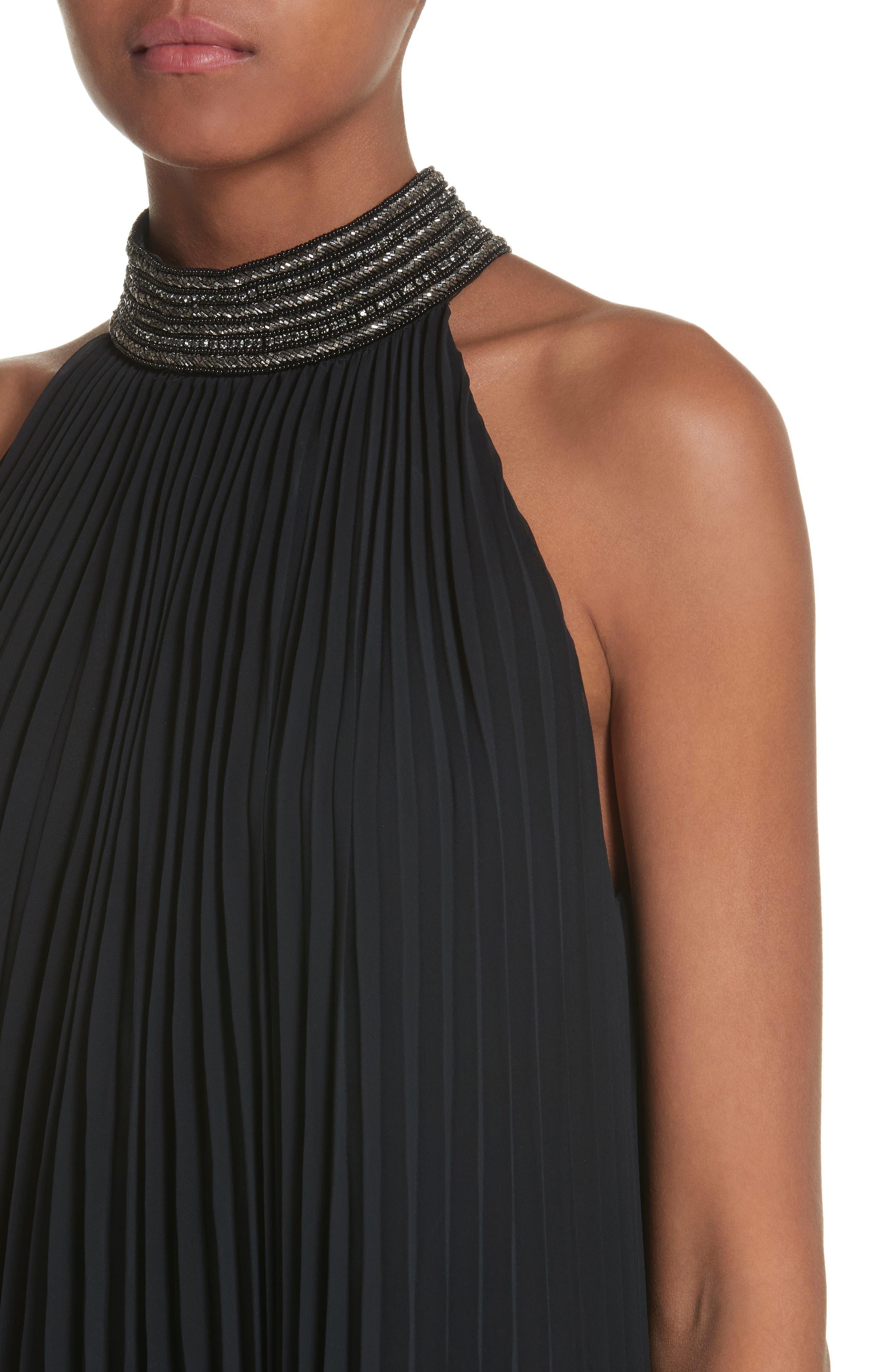 Carmen Marc Valvo Embellished Pleat Trapeze Dress,                             Alternate thumbnail 4, color,                             001