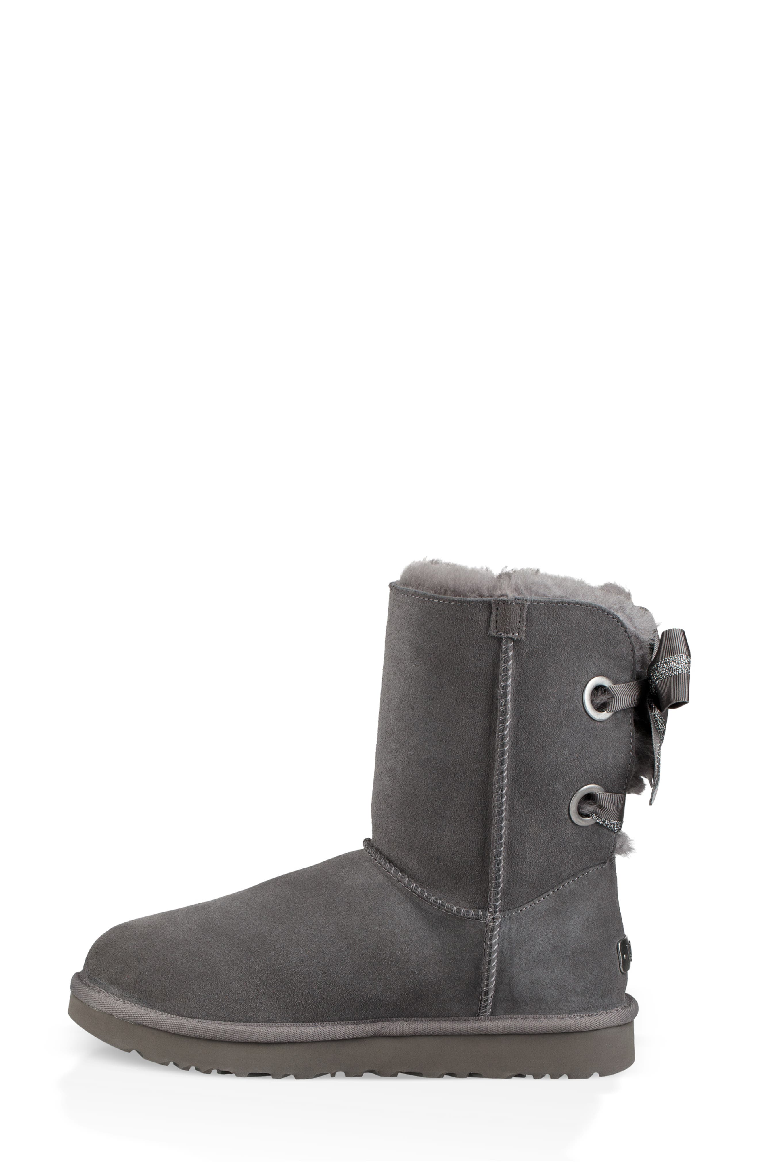Customizable Bailey Bow Genuine Shearling Bootie,                             Alternate thumbnail 6, color,                             CHARCOAL SUEDE