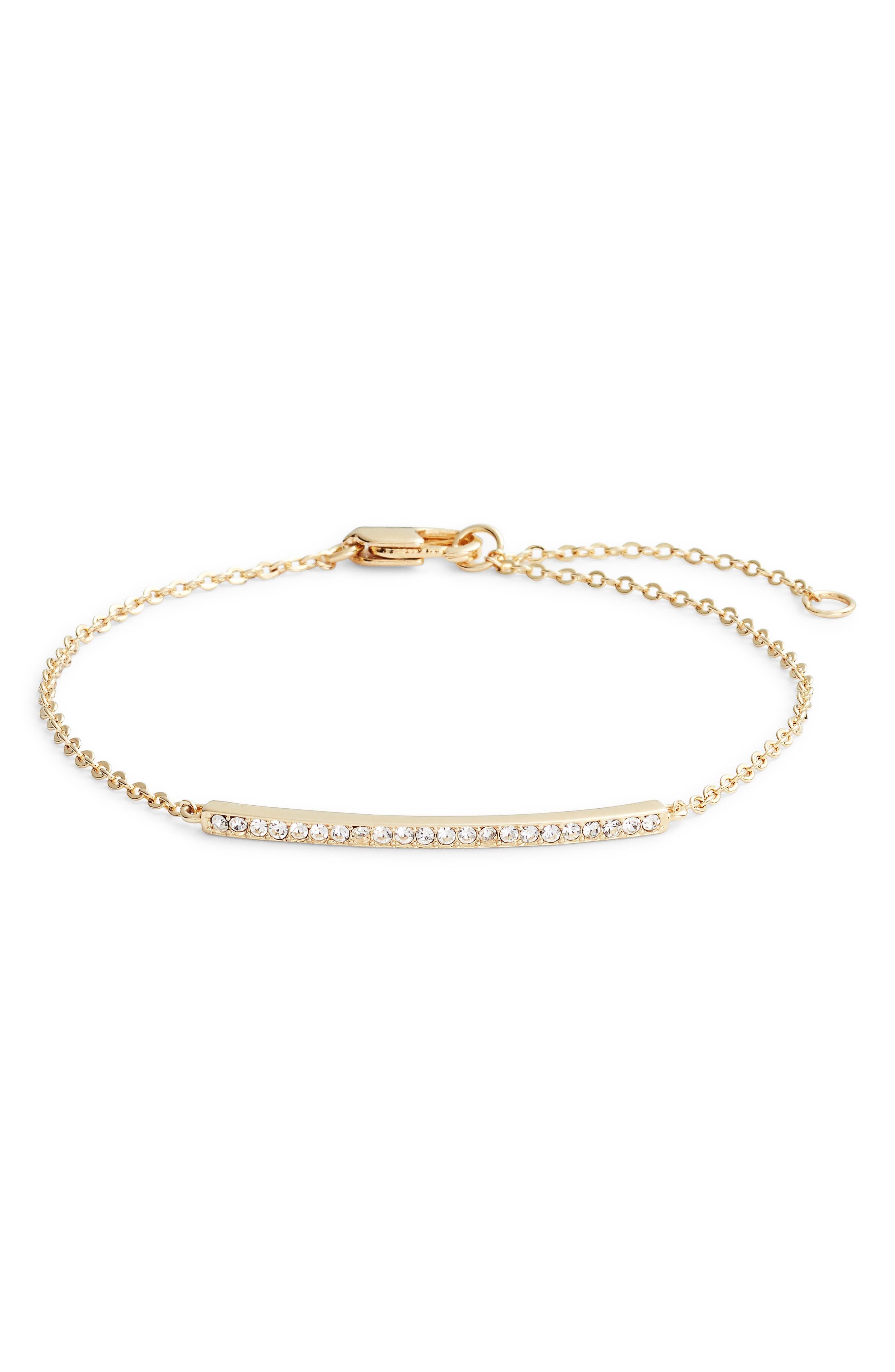 Pavé Bar Bracelet,                         Main,                         color, CLEAR- GOLD