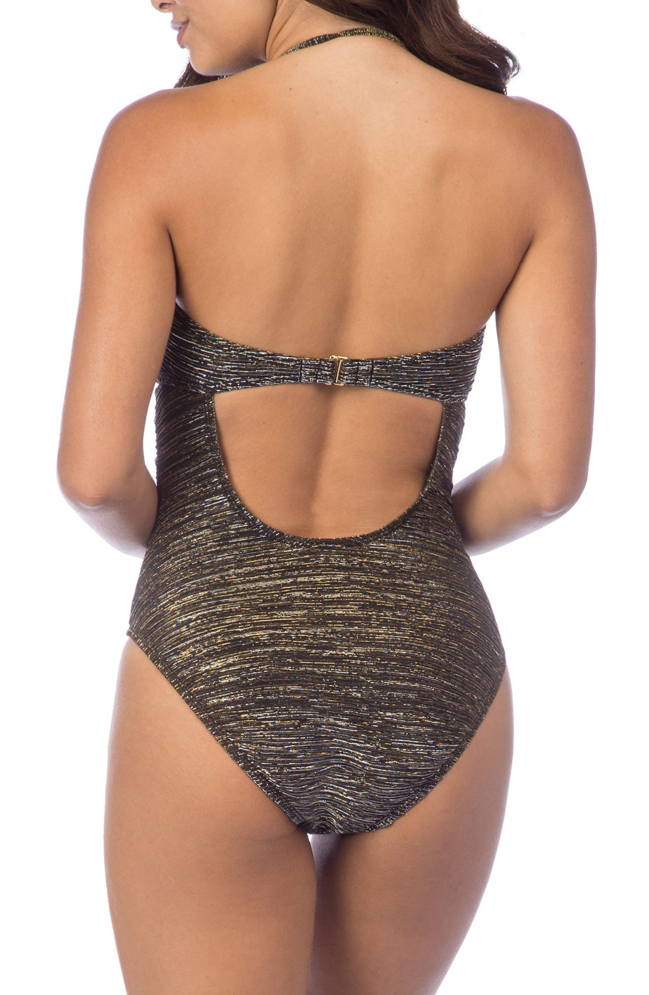 Bling It On Bandeau One-Piece Swimsuit,                             Alternate thumbnail 3, color,                             009