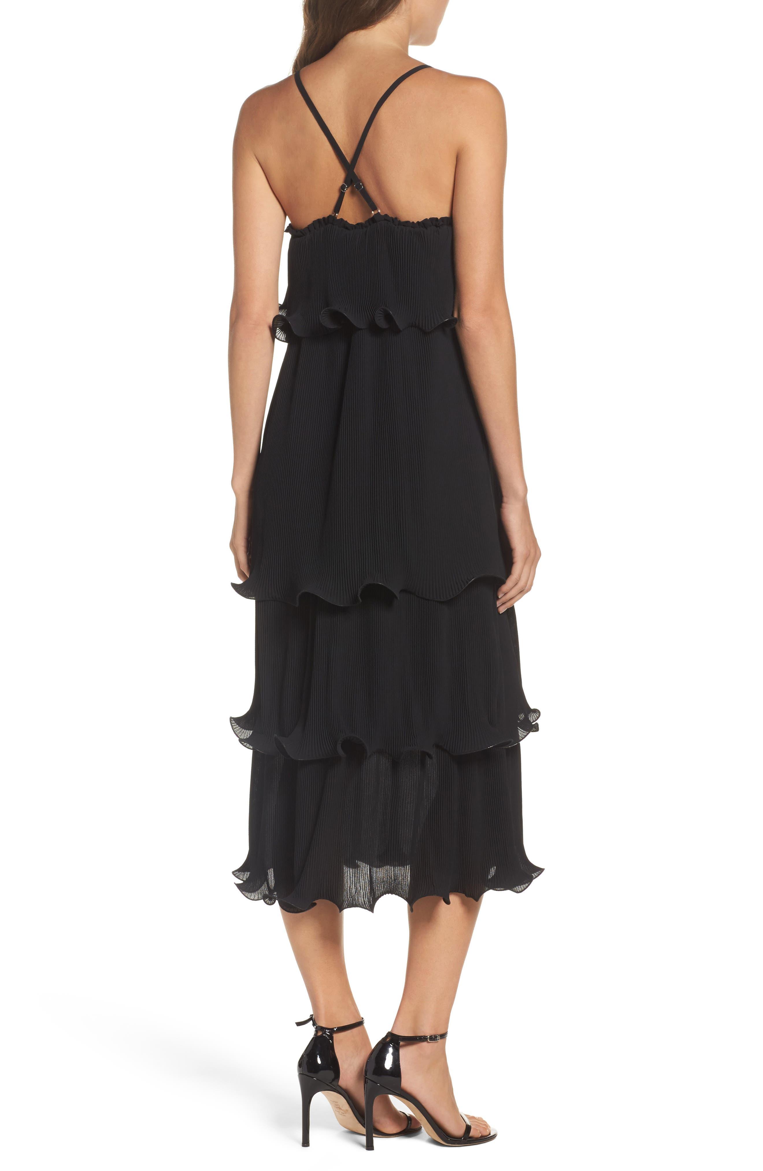 Tiered Midi Dress,                             Alternate thumbnail 2, color,                             001