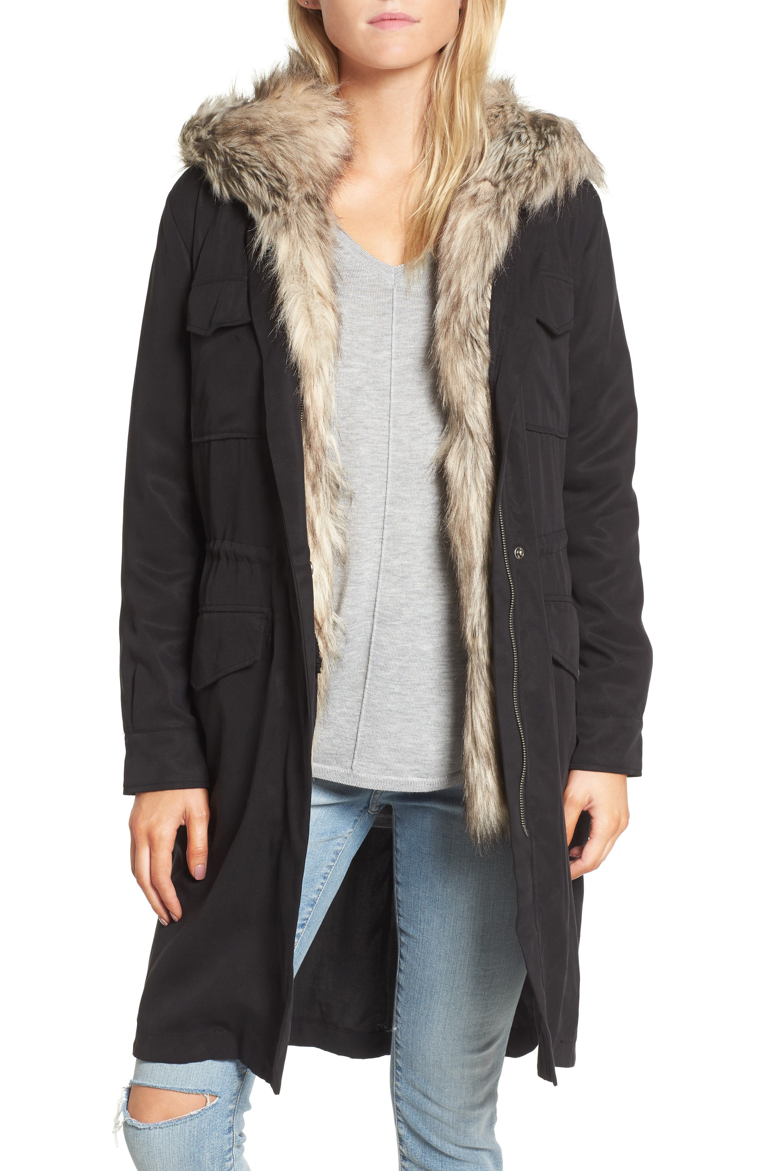 Walsh Tencel<sup>®</sup> Coat with Detachable Hooded Faux Fur Vest,                         Main,                         color, 001