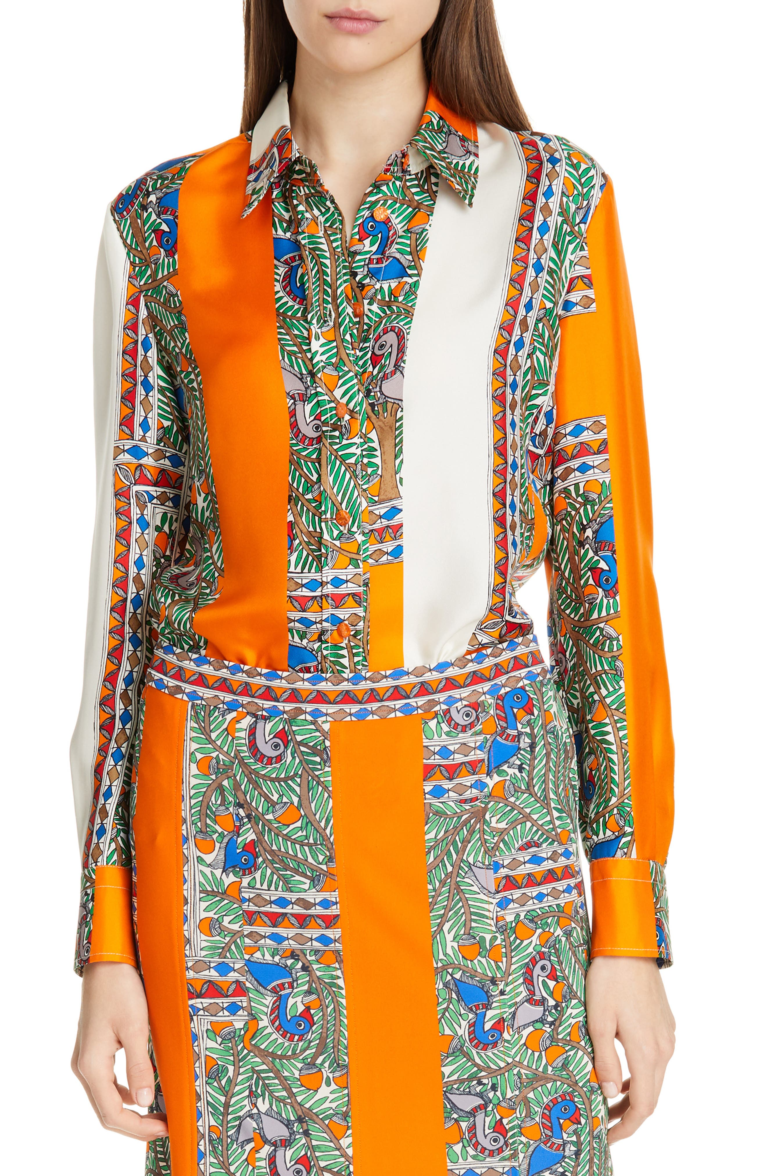 Printed Silk Shirt,                             Main thumbnail 1, color,                             SOMETHING WILD STRIPE