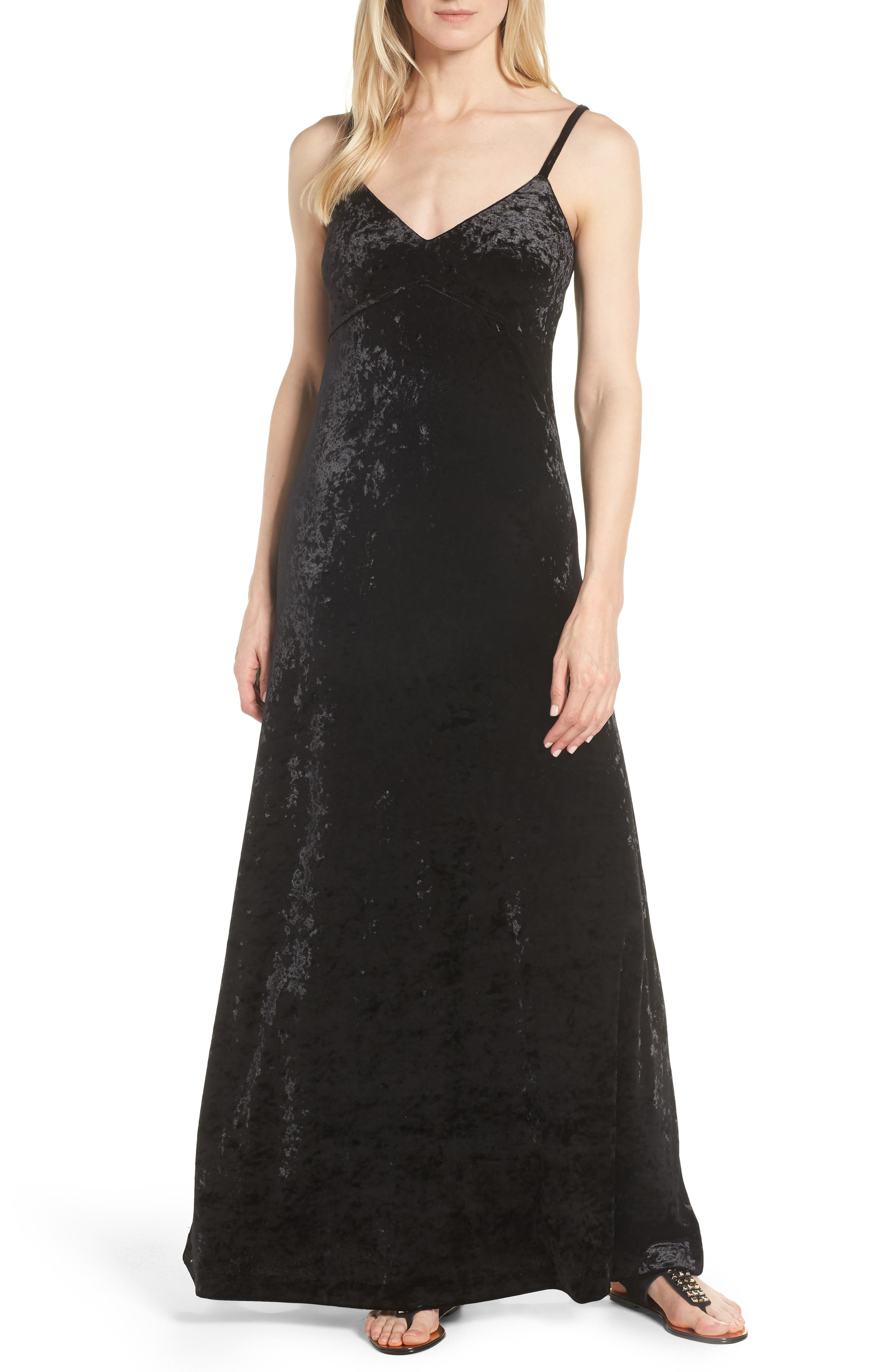 Crushed Velvet Maxi Dress,                             Main thumbnail 1, color,                             001