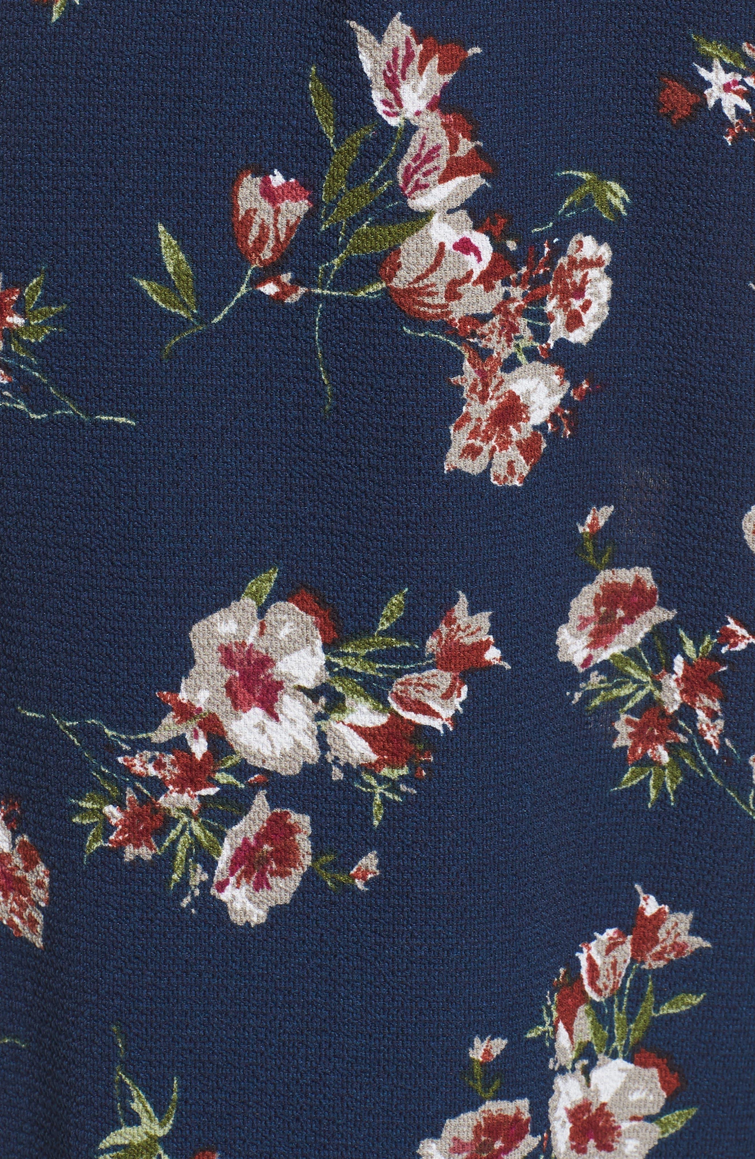 Floral Surplice Jumpsuit,                             Alternate thumbnail 6, color,                             NAVY