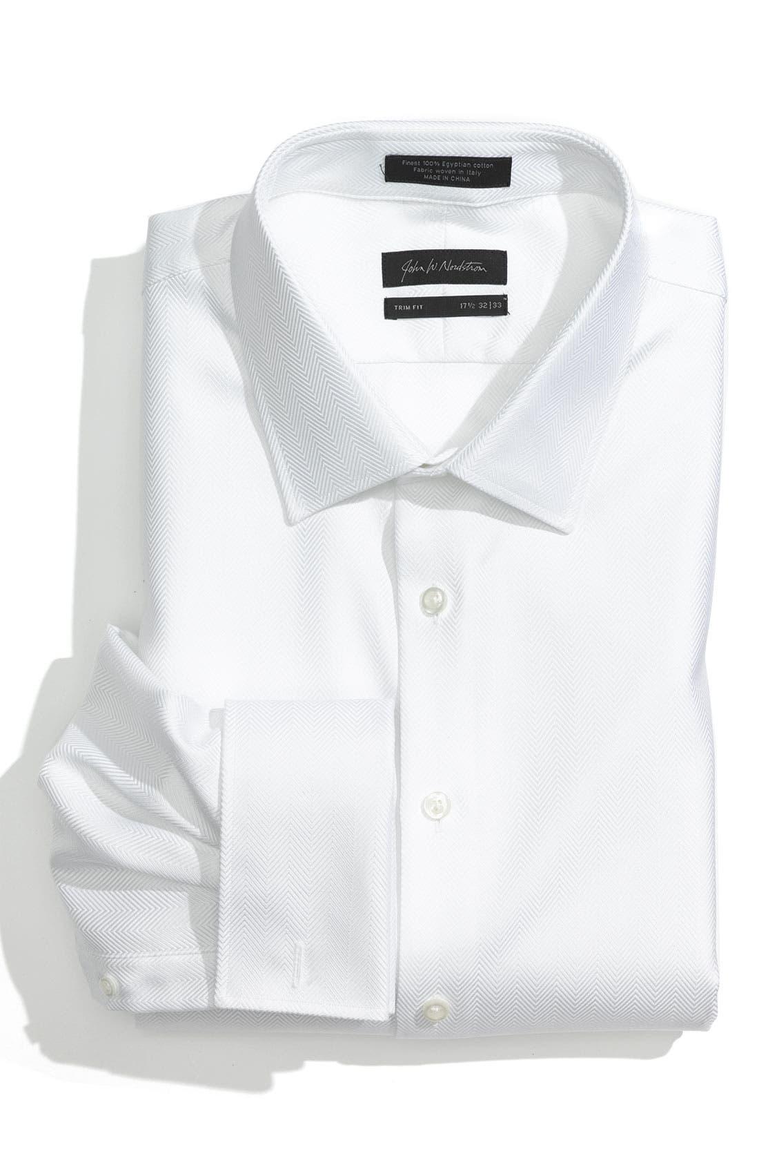JOHN W. NORDSTROM<SUP>®</SUP> Trim Fit Herringbone Tuxedo Shirt, Main, color, 100