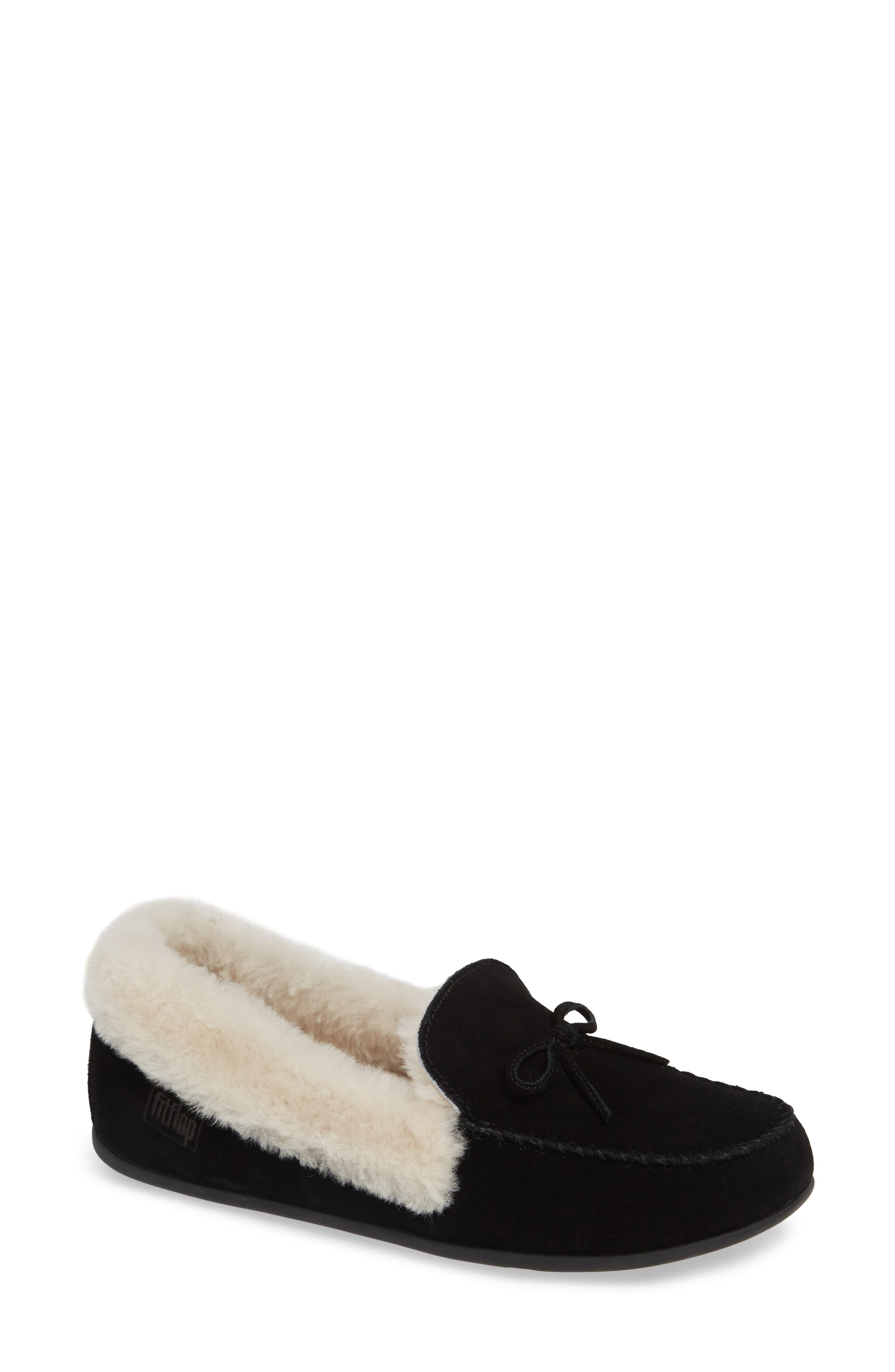 Clara Genuine Shearling Lined Moccasin,                             Main thumbnail 1, color,                             BLACK SUEDE