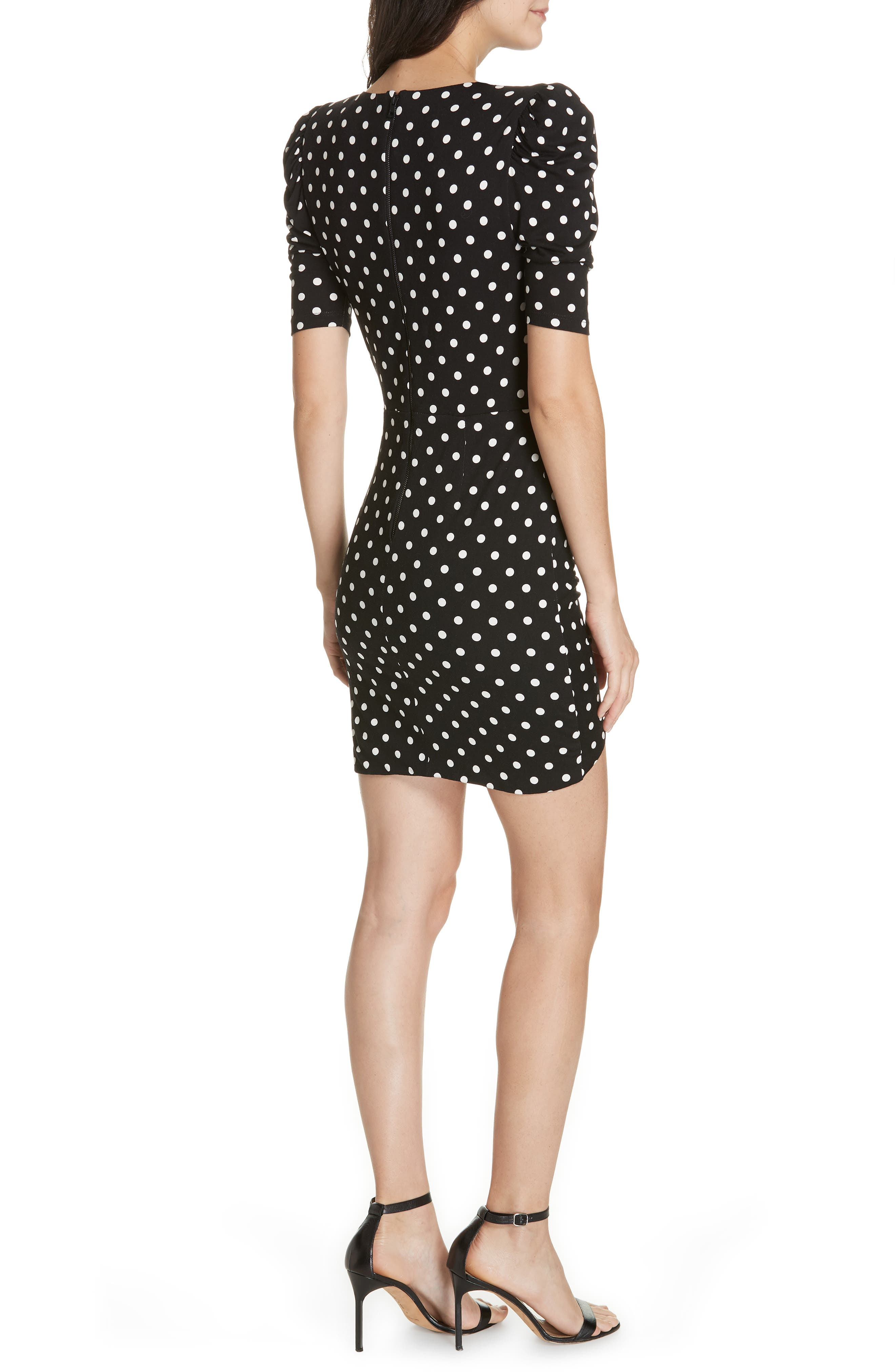 Judy Ruched Faux Wrap Dress,                             Alternate thumbnail 2, color,                             MED POLKADOT BLK/ SOFT WHT