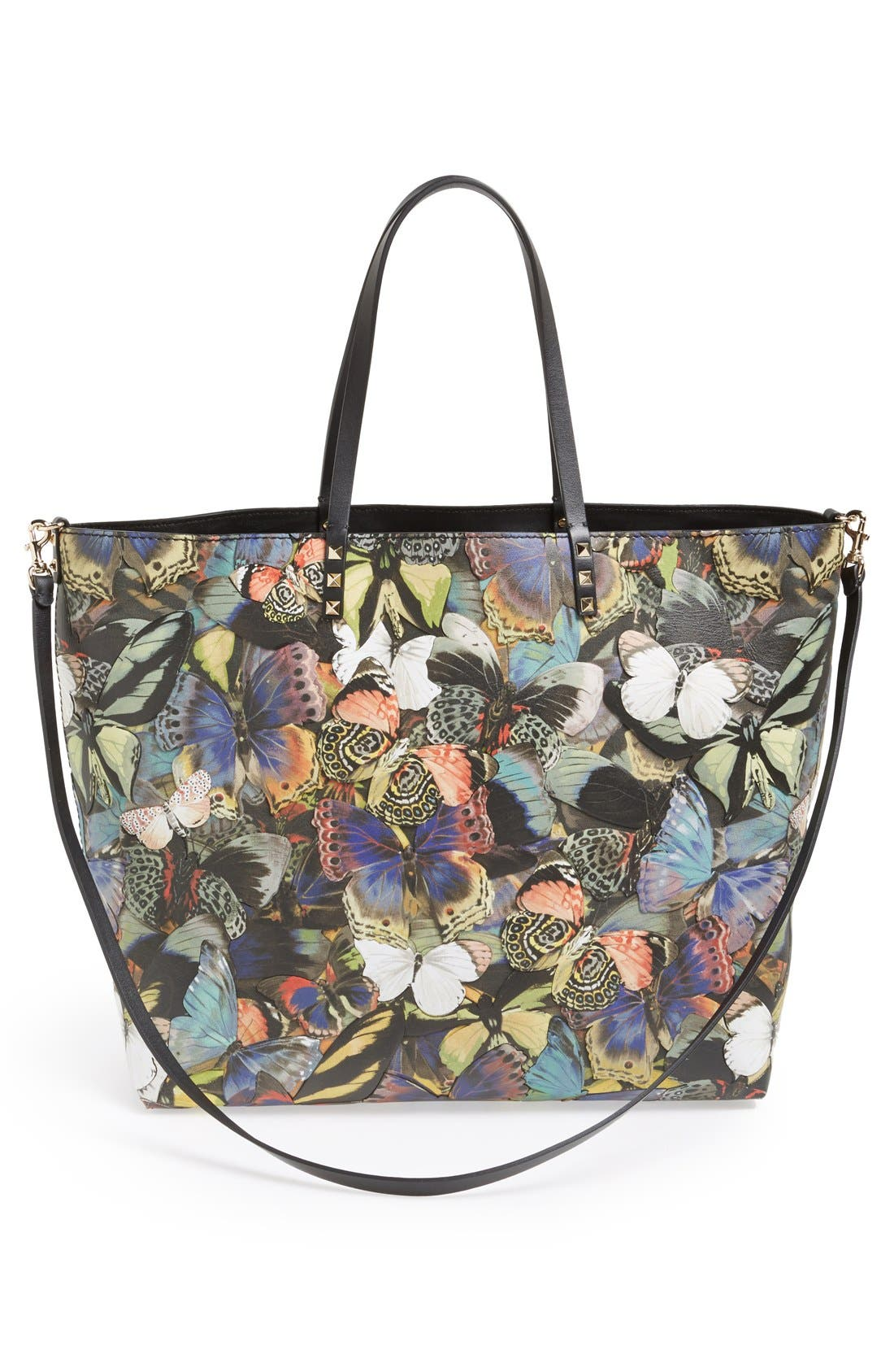 'Camu Butterfly' Leather Tote,                             Alternate thumbnail 3, color,                             300