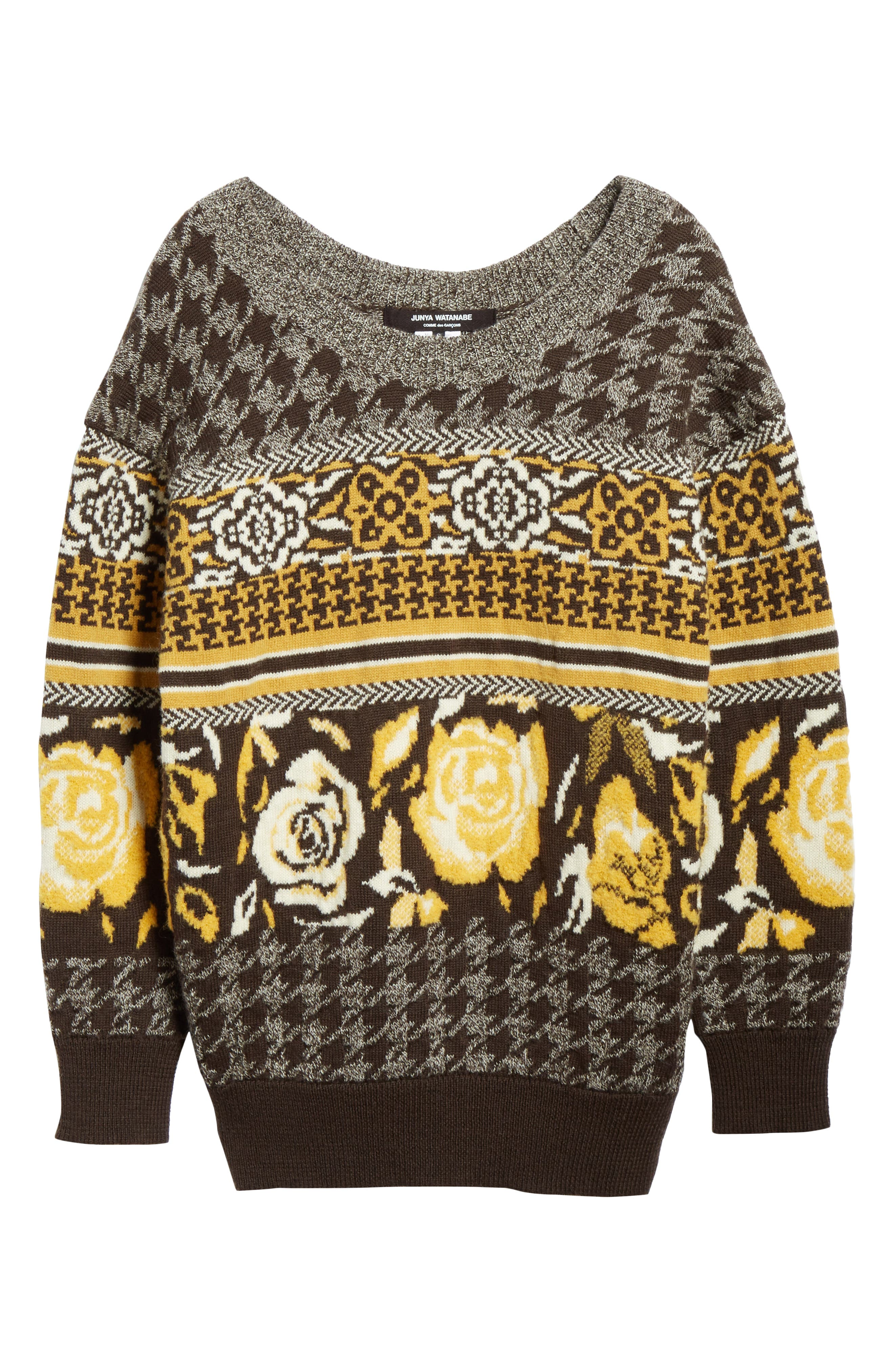 Oversized Sweater,                             Alternate thumbnail 7, color,                             BROWN/ WHITE/ YELLOW