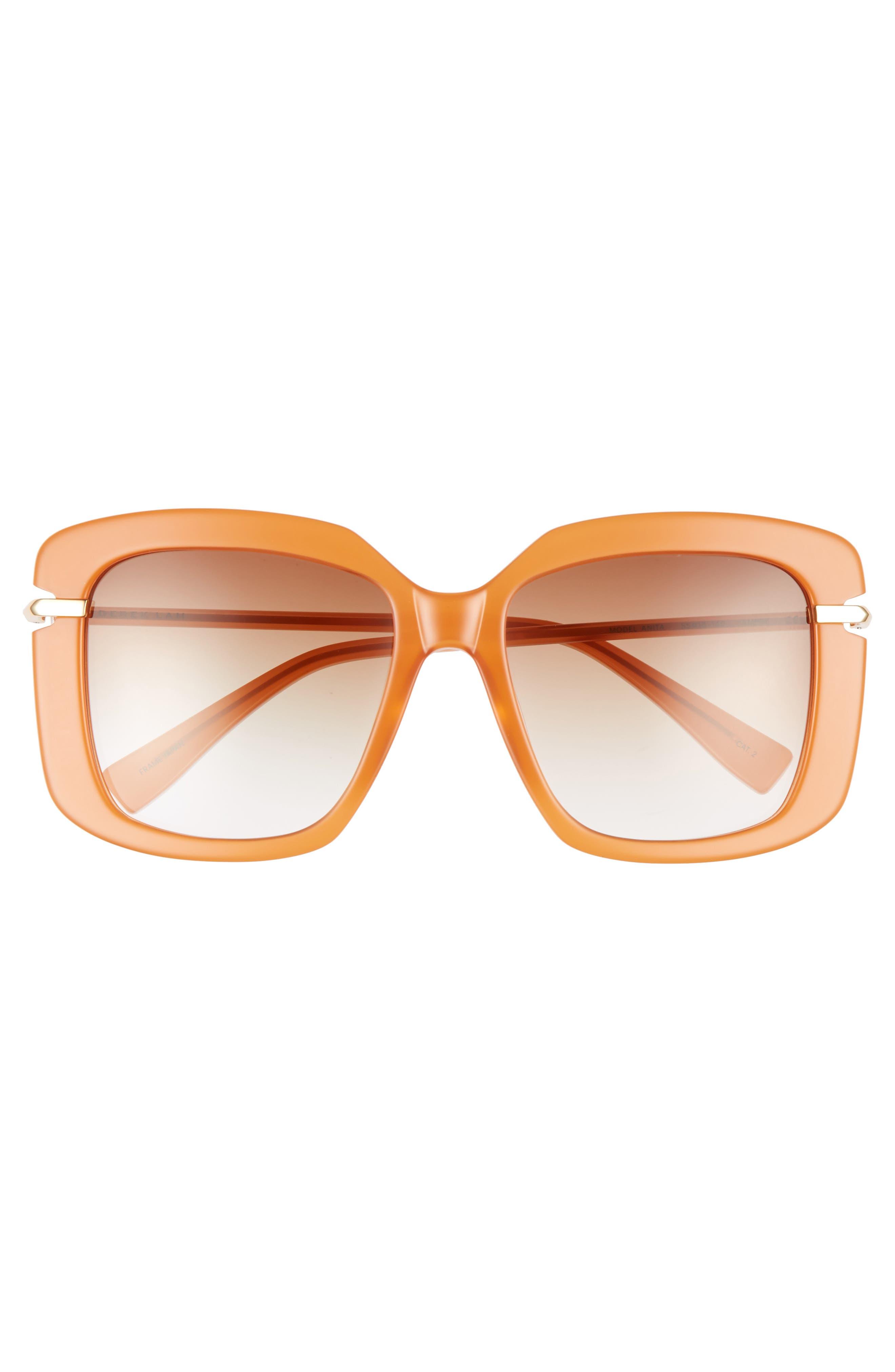 Anita 55mm Square Sunglasses,                             Alternate thumbnail 3, color,                             AMBER