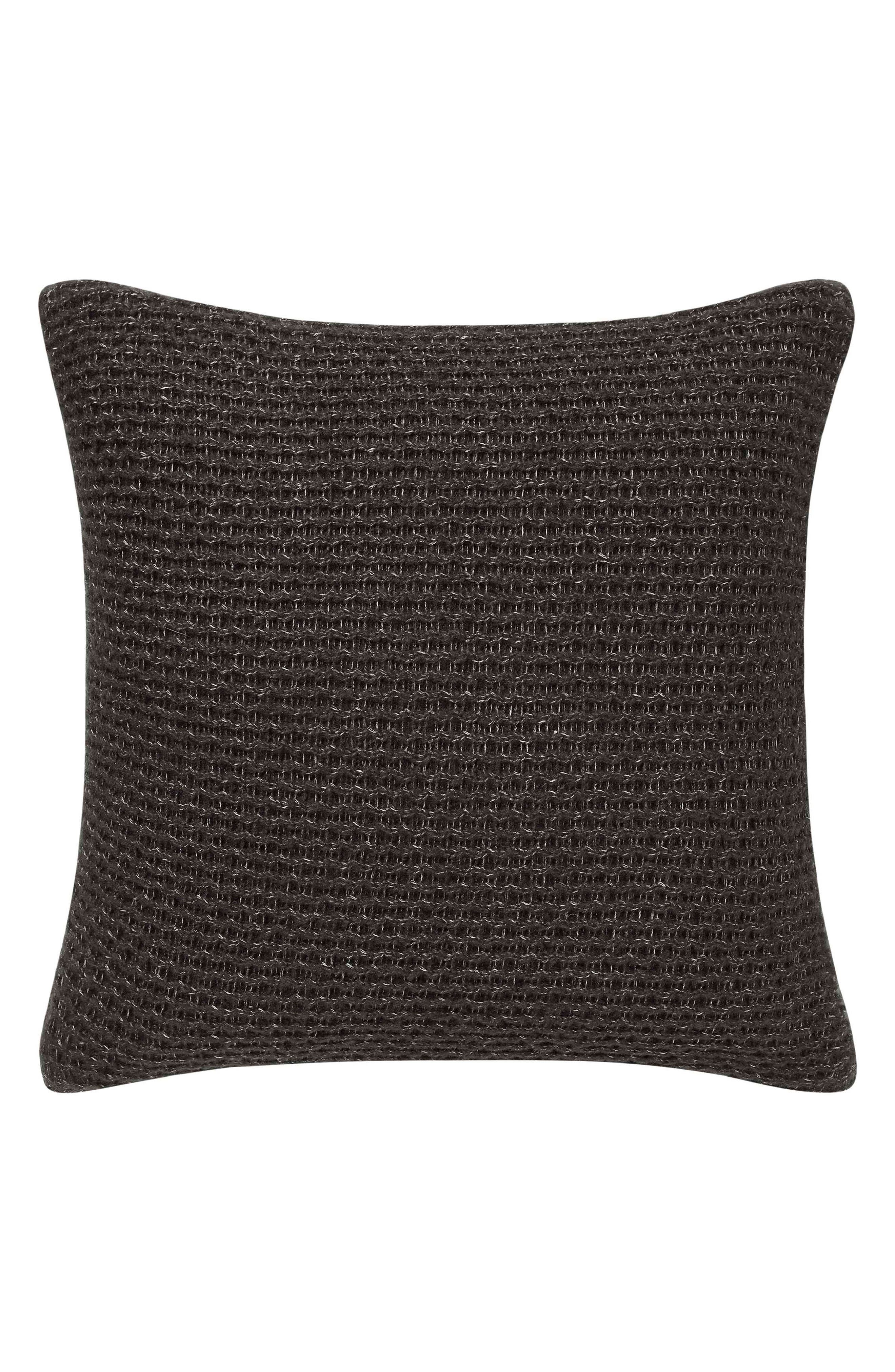 Marled Knit Accent Pillow,                             Main thumbnail 1, color,                             SOOT