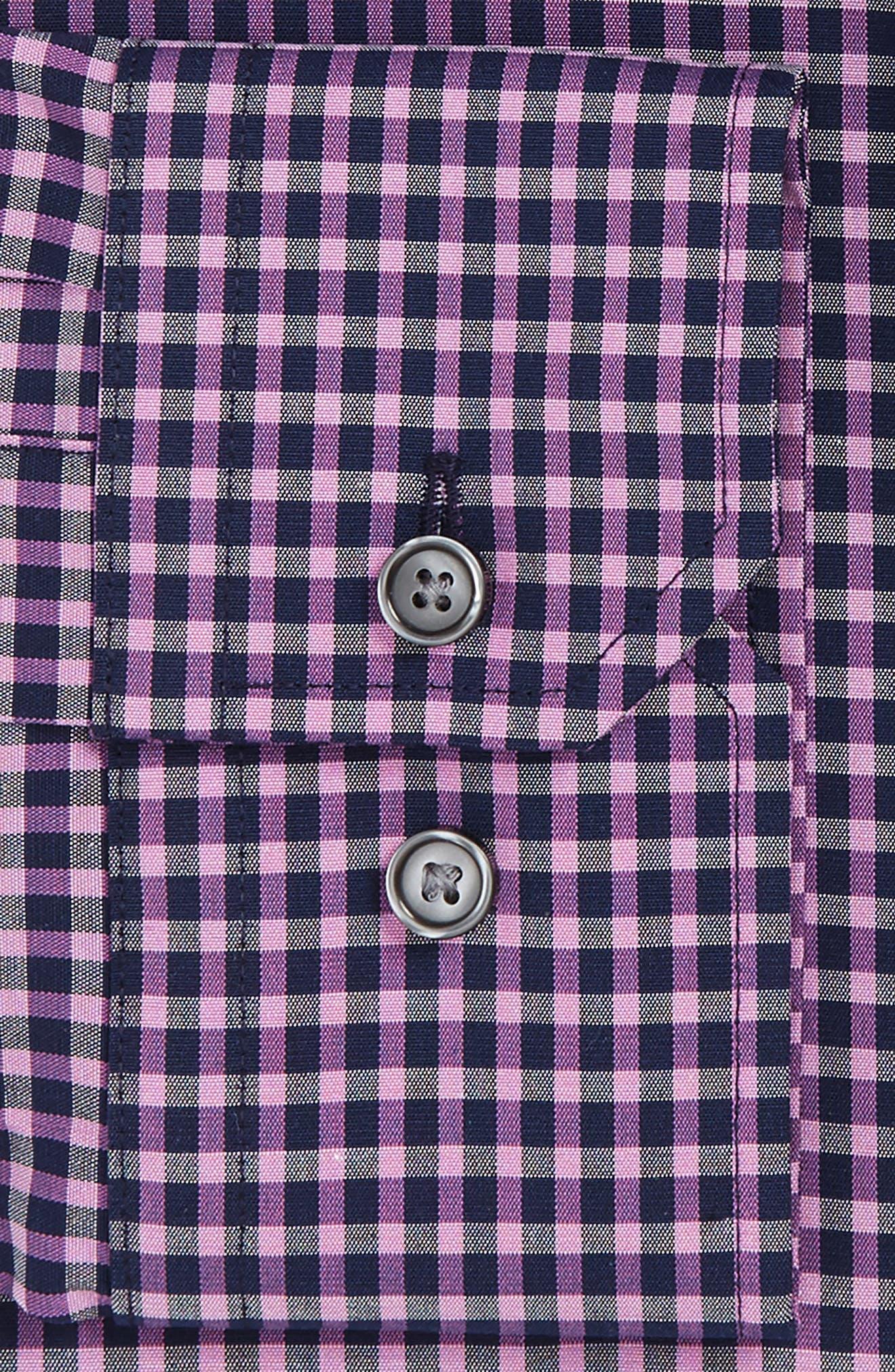 Trim Fit Non-Iron Check Stretch Dress Shirt,                             Alternate thumbnail 3, color,