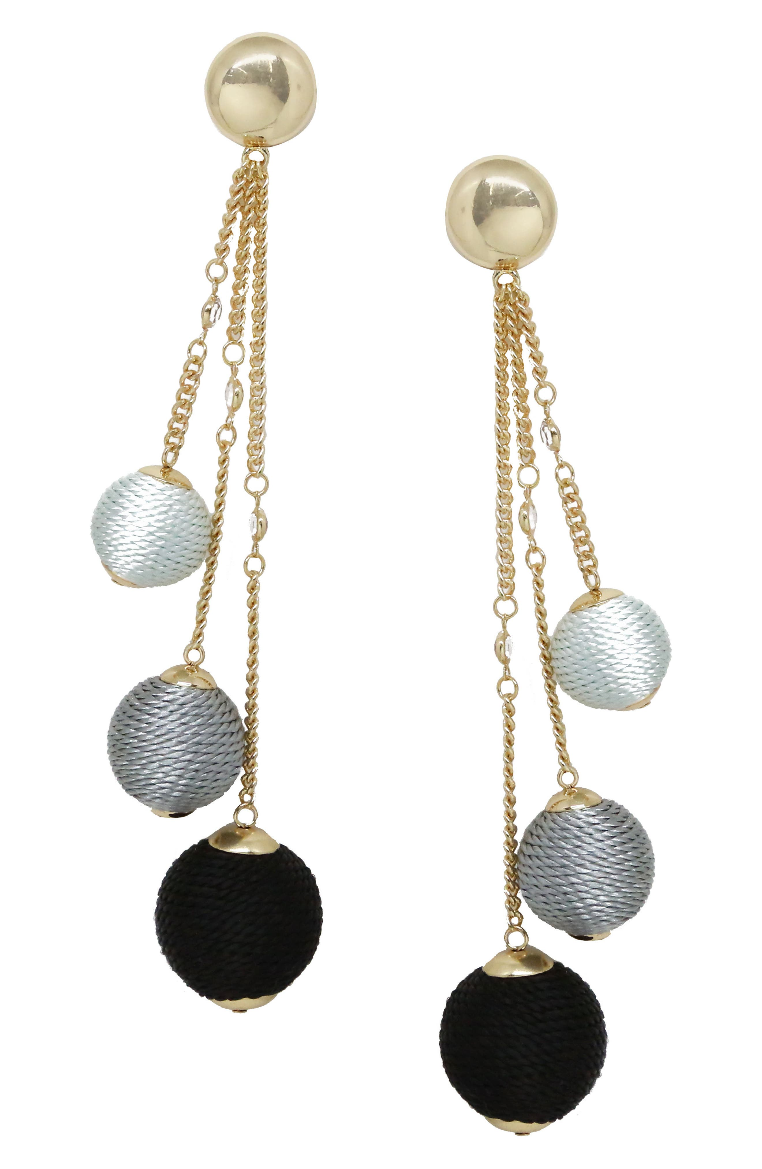 ETTIKA Wrapped Ball & Chain Statement Earrings, Main, color, 001