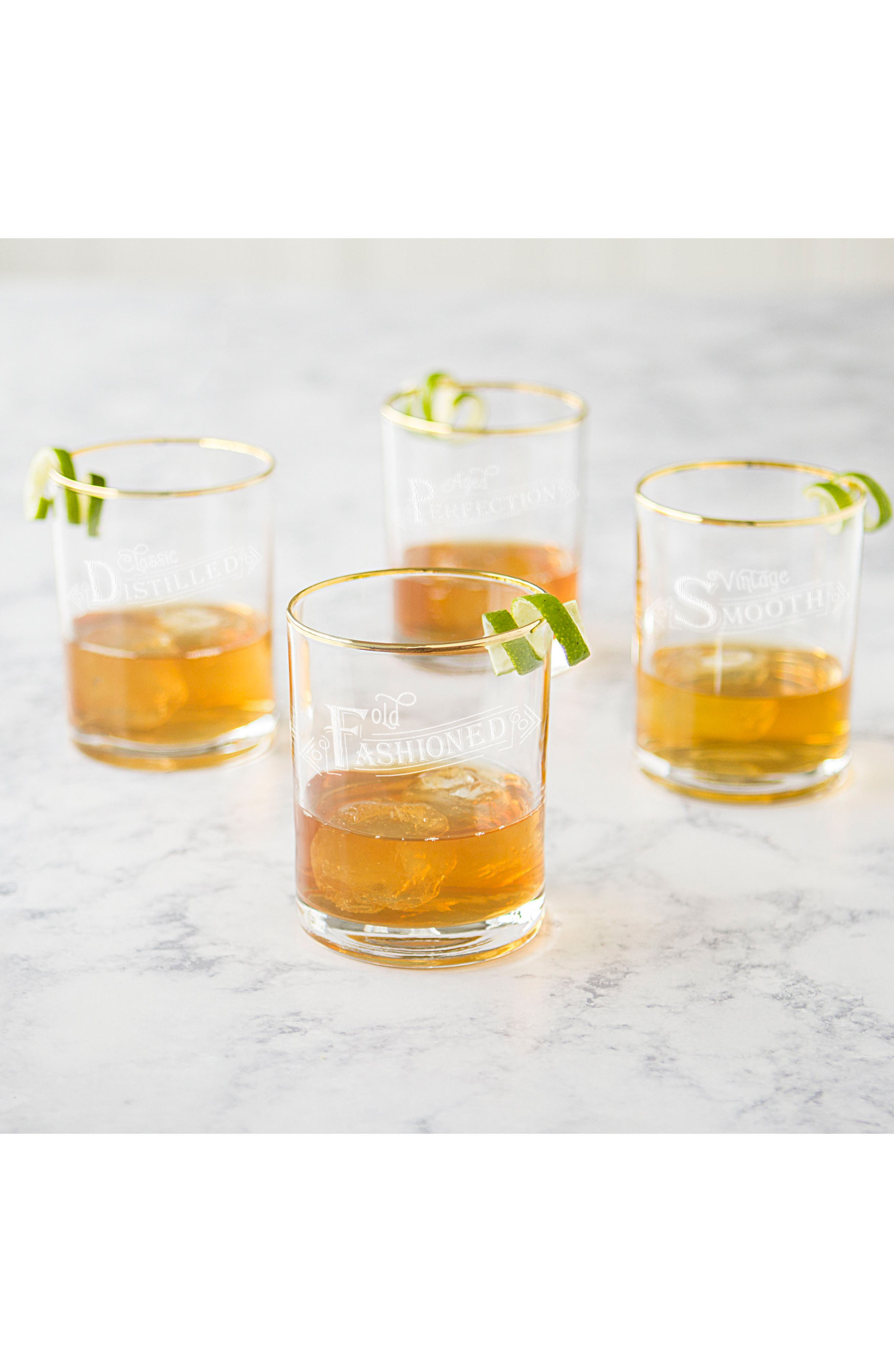 Set of 4 Gold Rim Old Fashioned Whiskey Glasses,                             Alternate thumbnail 4, color,                             110