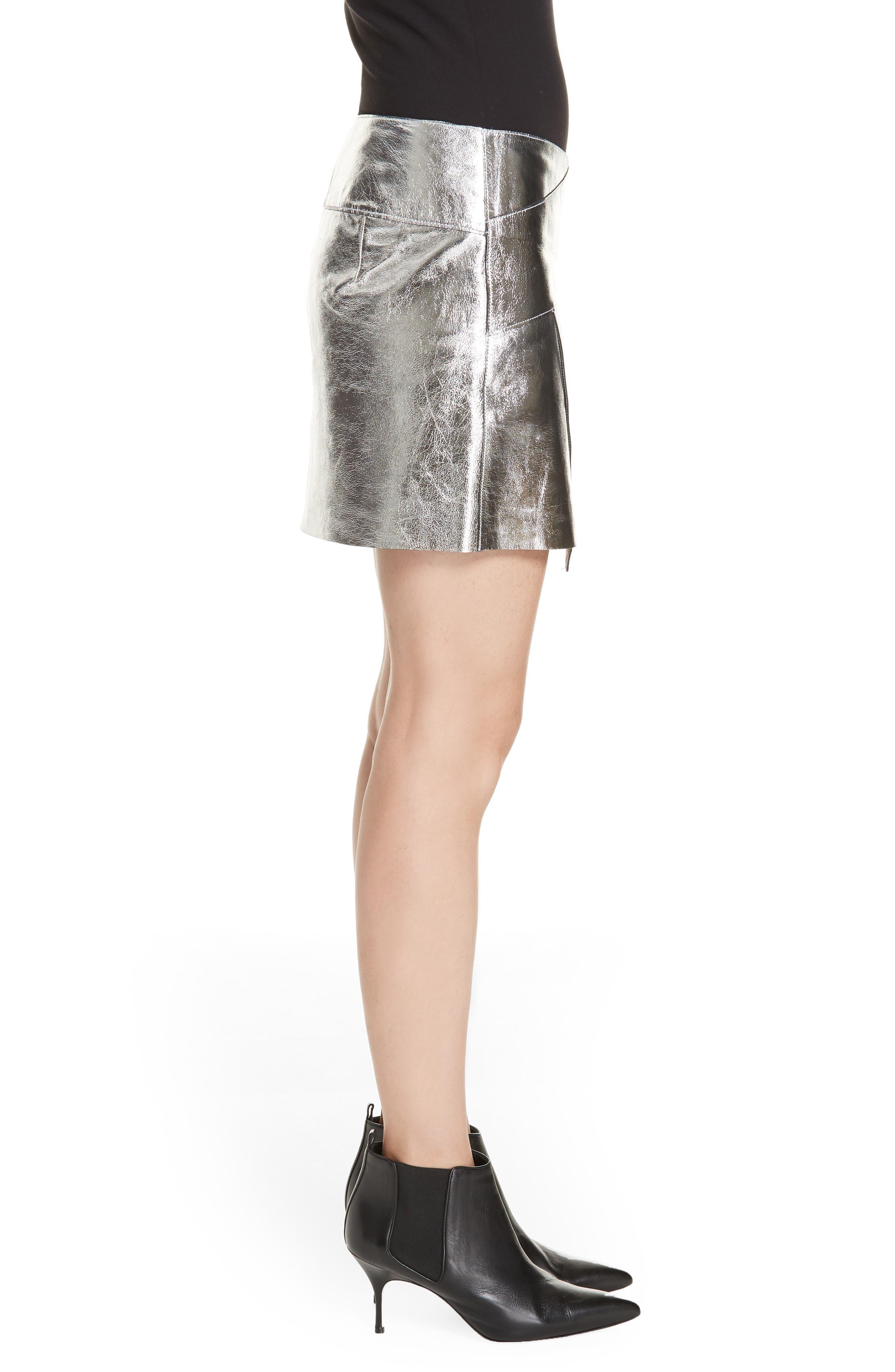 Mania Metallic Leather Skirt,                             Alternate thumbnail 3, color,                             GREY