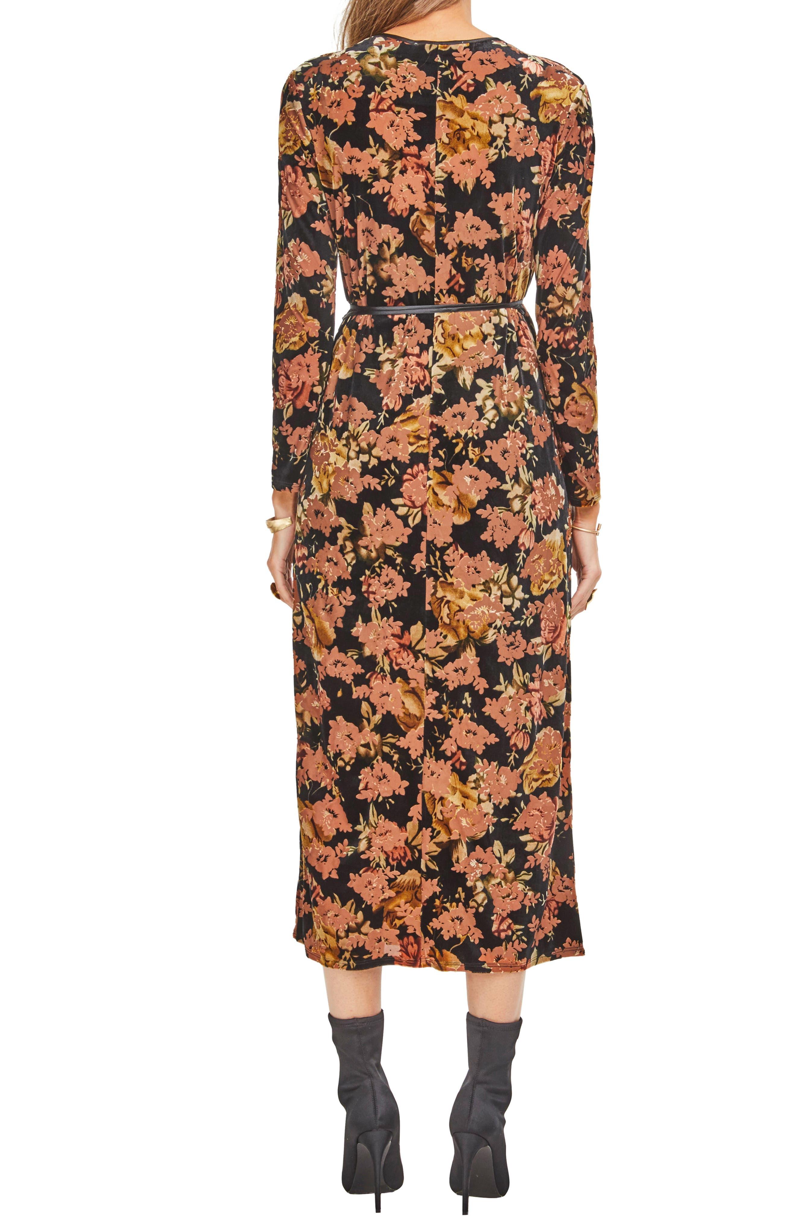 Milena Midi Dress,                             Alternate thumbnail 2, color,                             BLACK RUST FLORAL