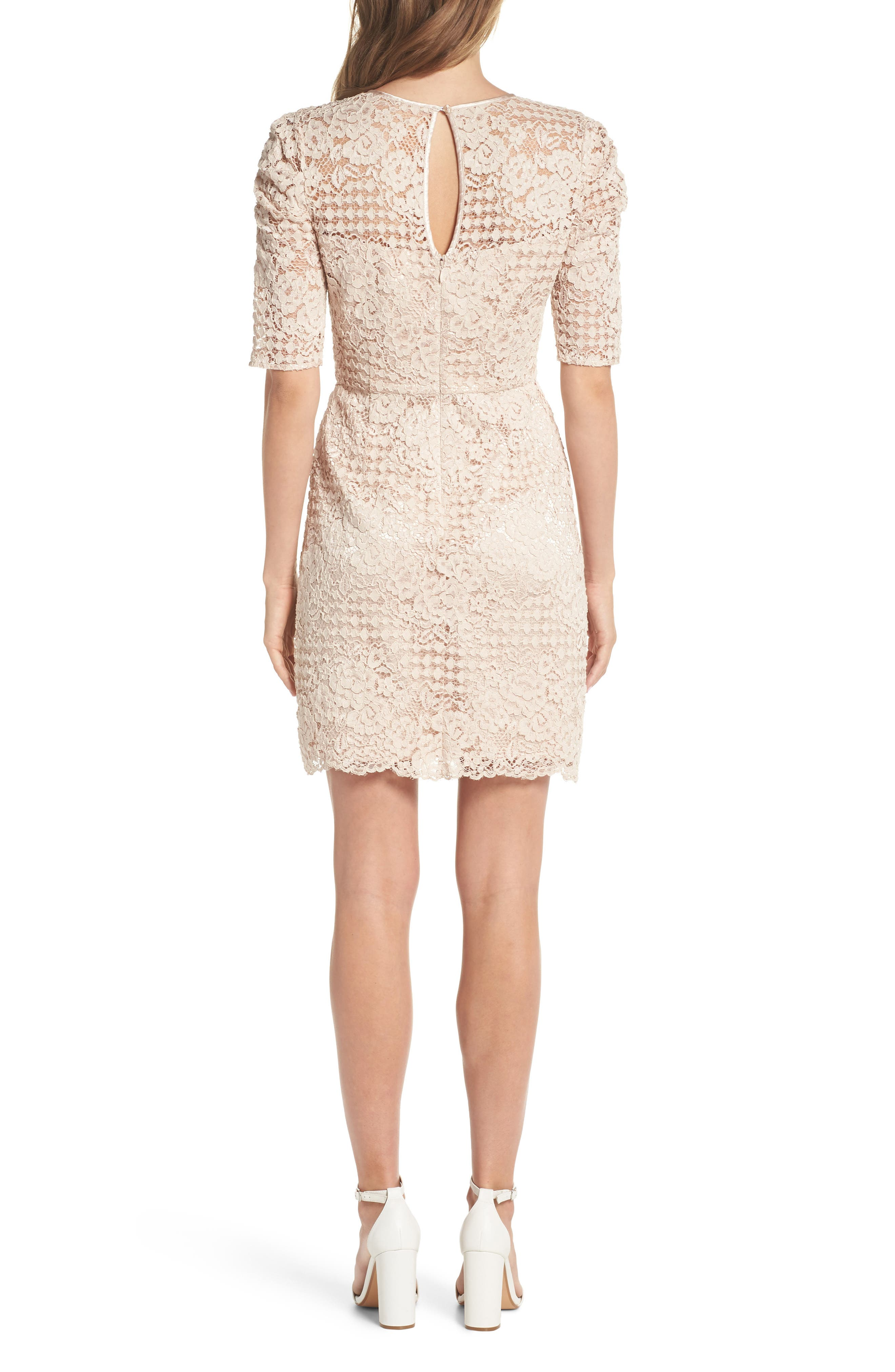 Ruched Sleeve Lace Dress,                             Alternate thumbnail 2, color,                             PINK BLUSH