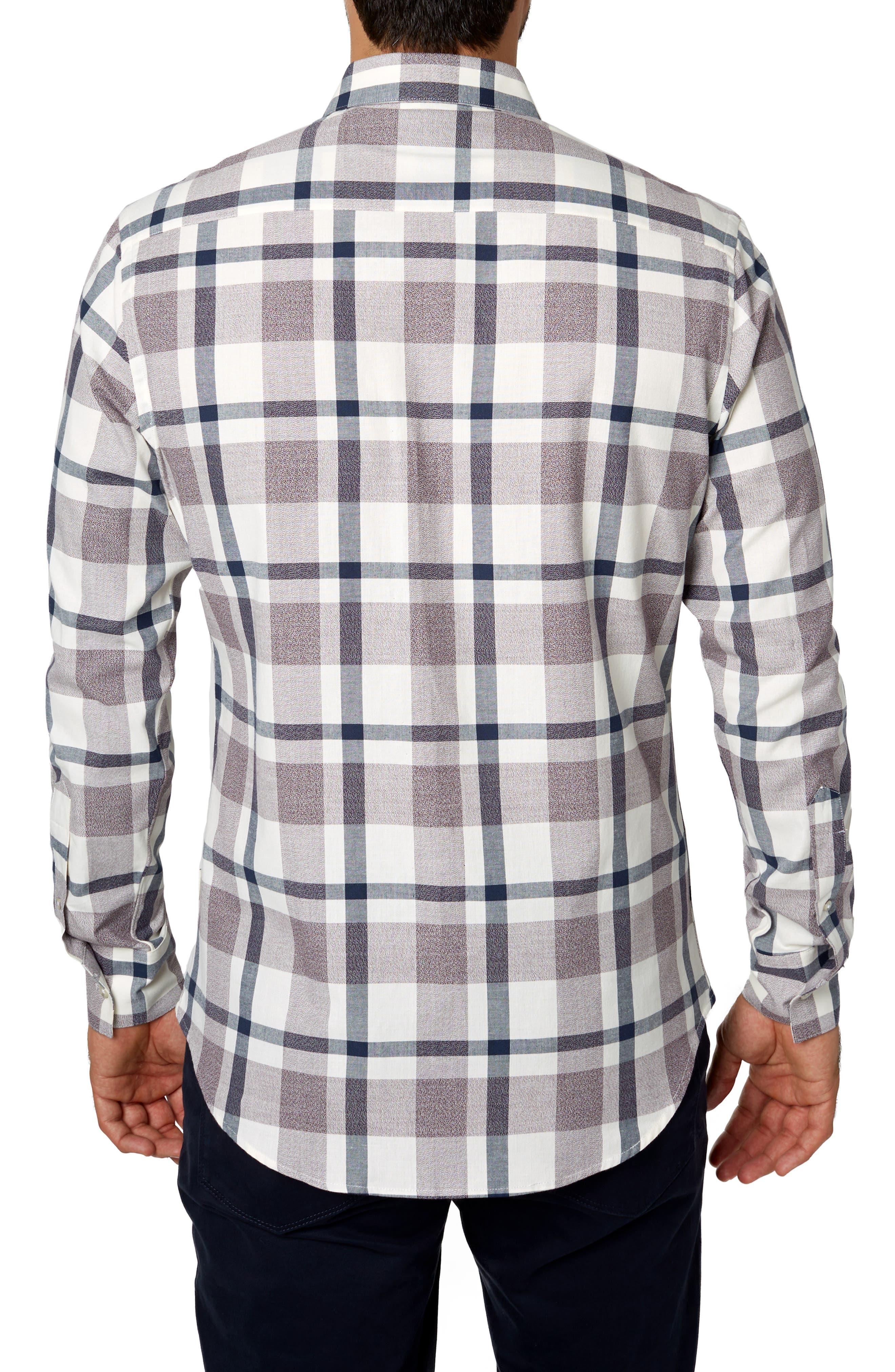 Youngblood Trim Fit Plaid Sport Shirt,                             Alternate thumbnail 3, color,                             ROSE
