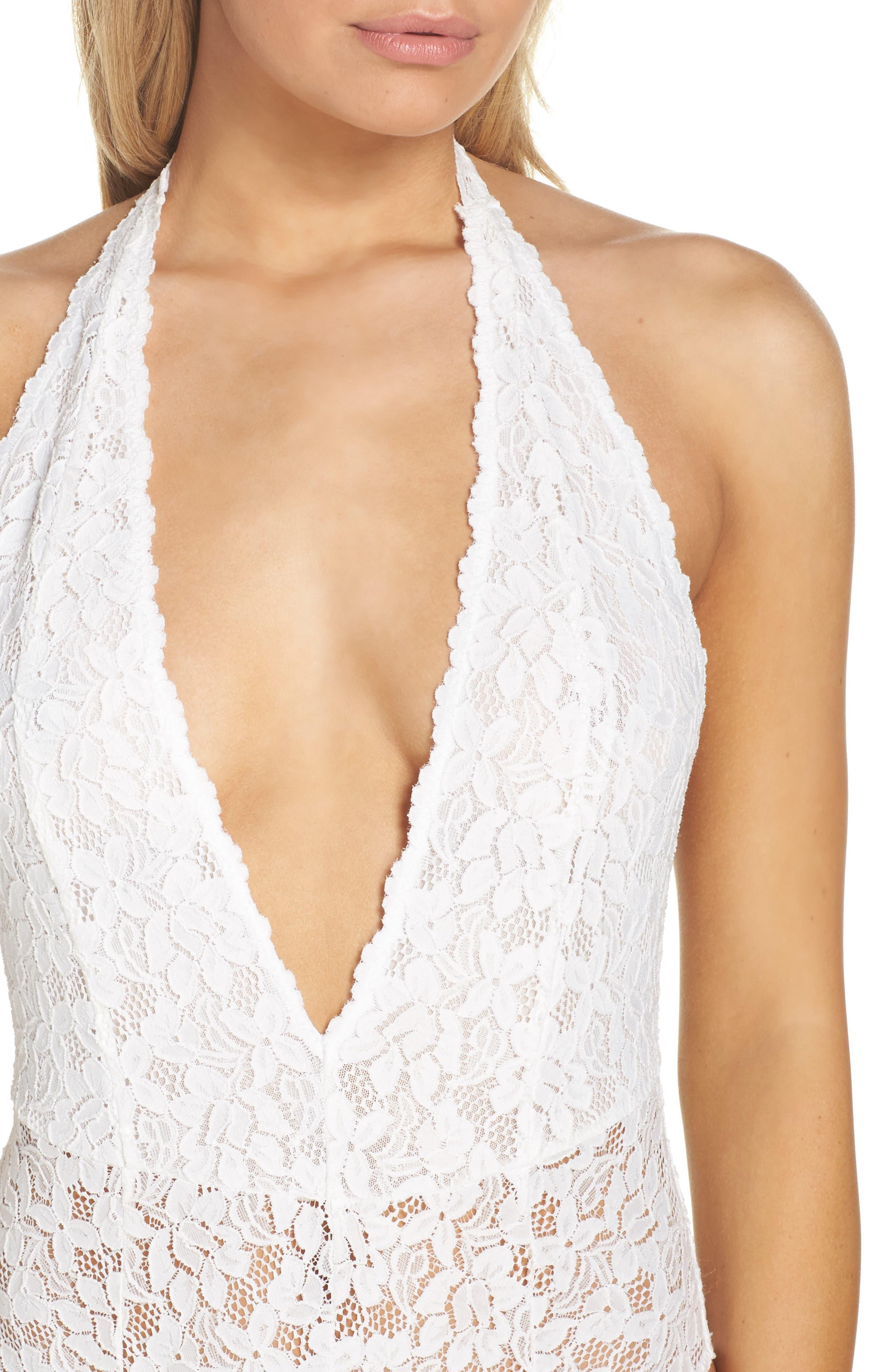 Intimately FP Avery Lace Bodysuit,                             Alternate thumbnail 4, color,                             WHITE