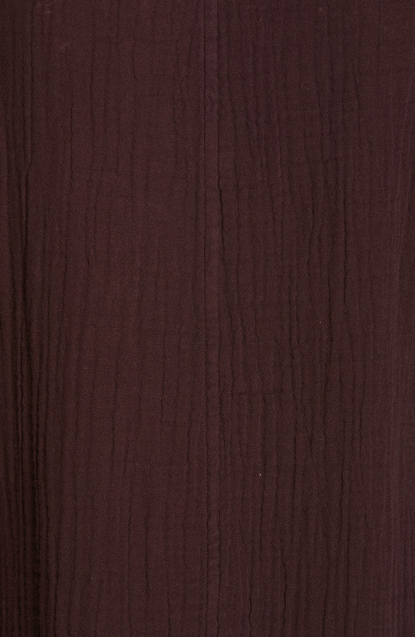 EILEEN FISHER,                             Textured Organic Cotton Shirt Dress,                             Alternate thumbnail 6, color,                             CASSIS