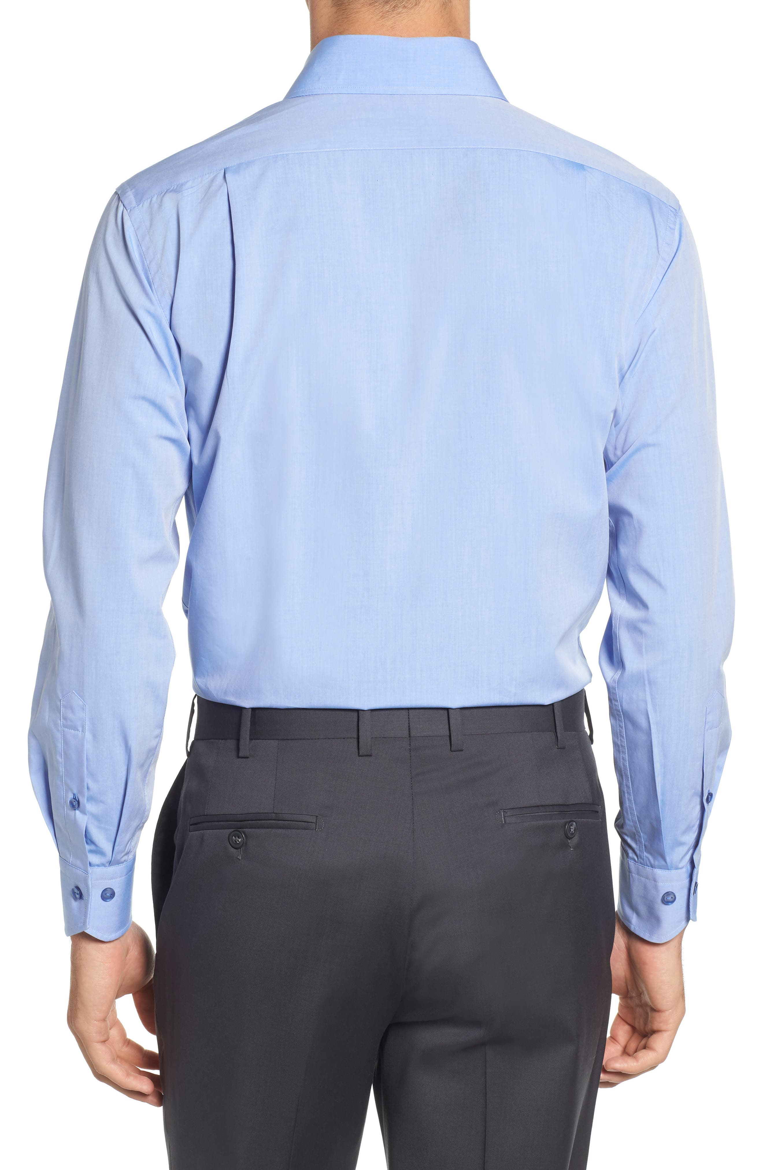 Trim Fit Solid Dress Shirt,                             Alternate thumbnail 3, color,                             BLUE