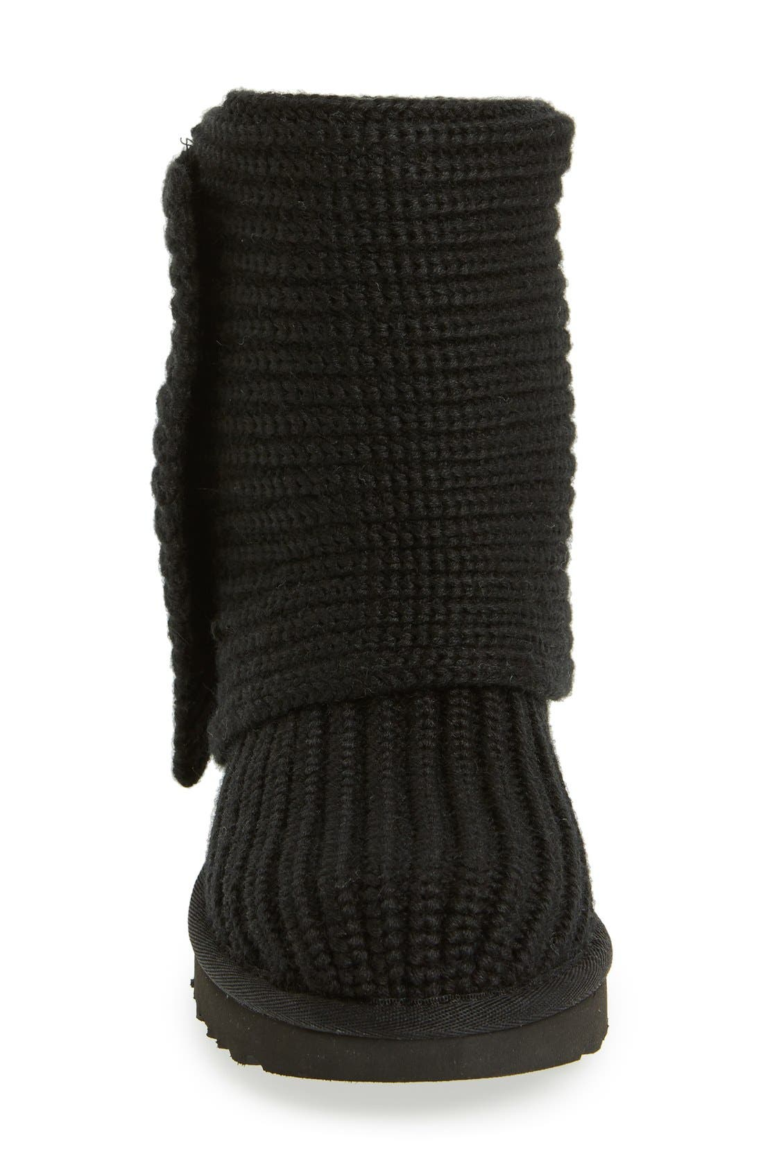 UGG<SUP>®</SUP>,                             Classic Cardy II Knit Boot,                             Alternate thumbnail 4, color,                             BLACK FABRIC