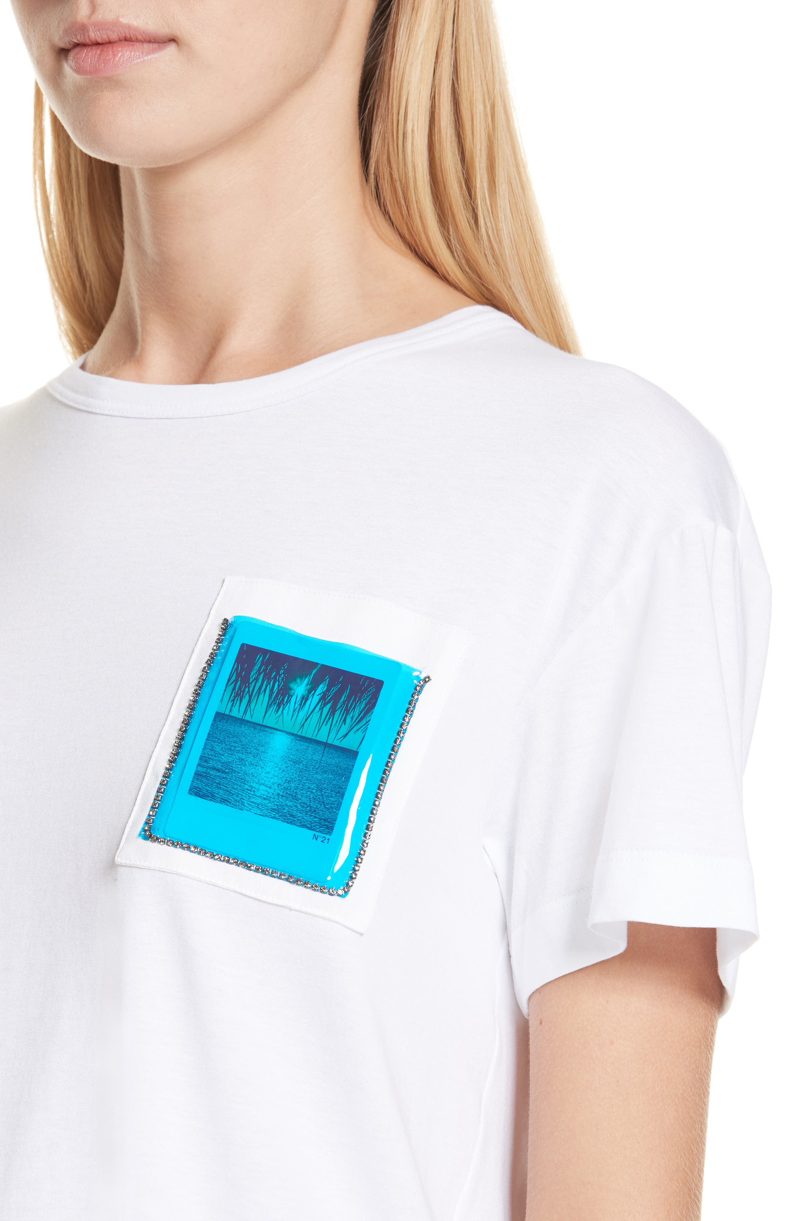 Nº21 Photograph Pocket Tee,                             Alternate thumbnail 4, color,                             WHITE