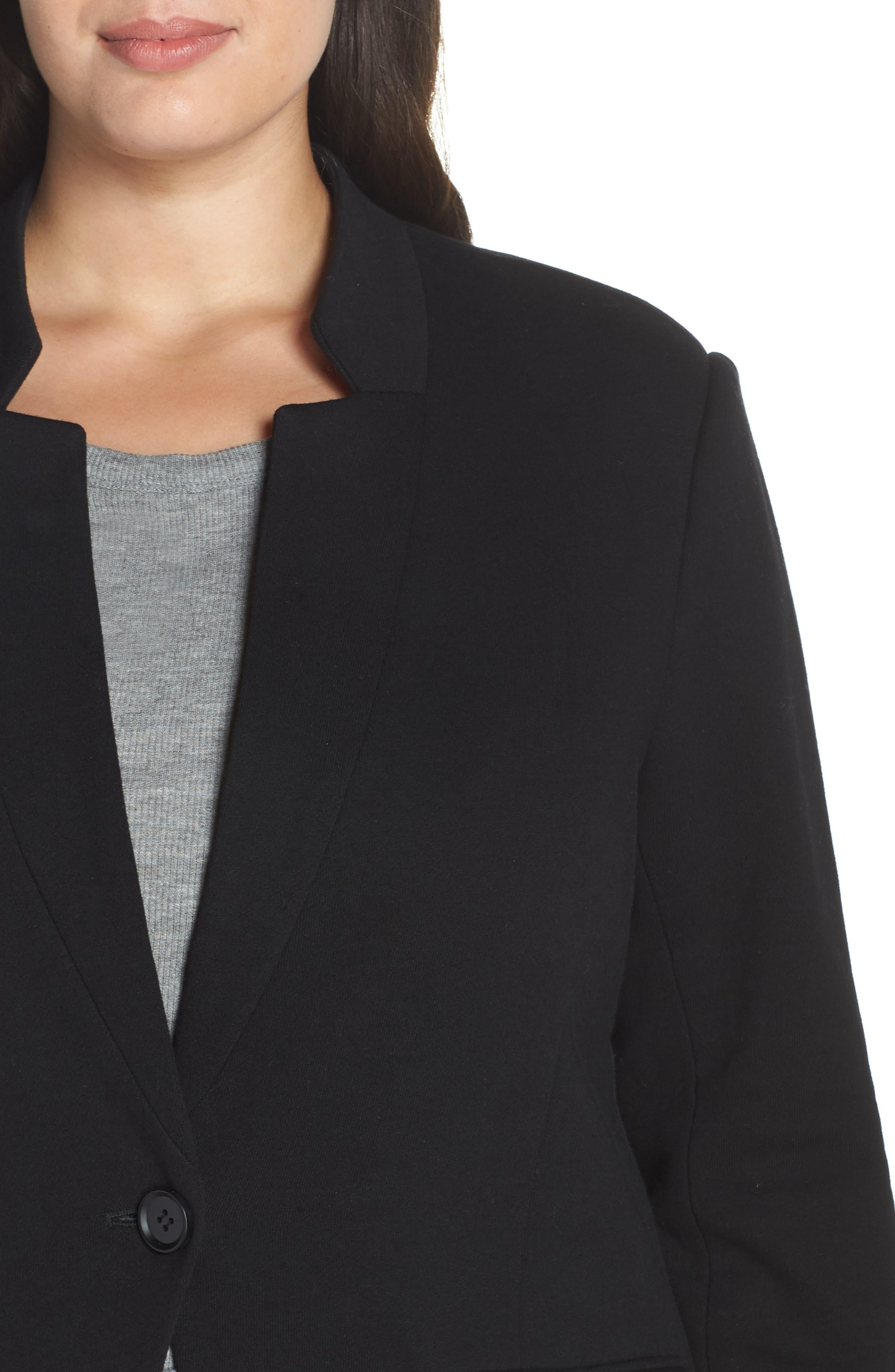 GIBSON,                             Inverted Notch Collar Cotton Blend Blazer,                             Alternate thumbnail 4, color,                             BLACK