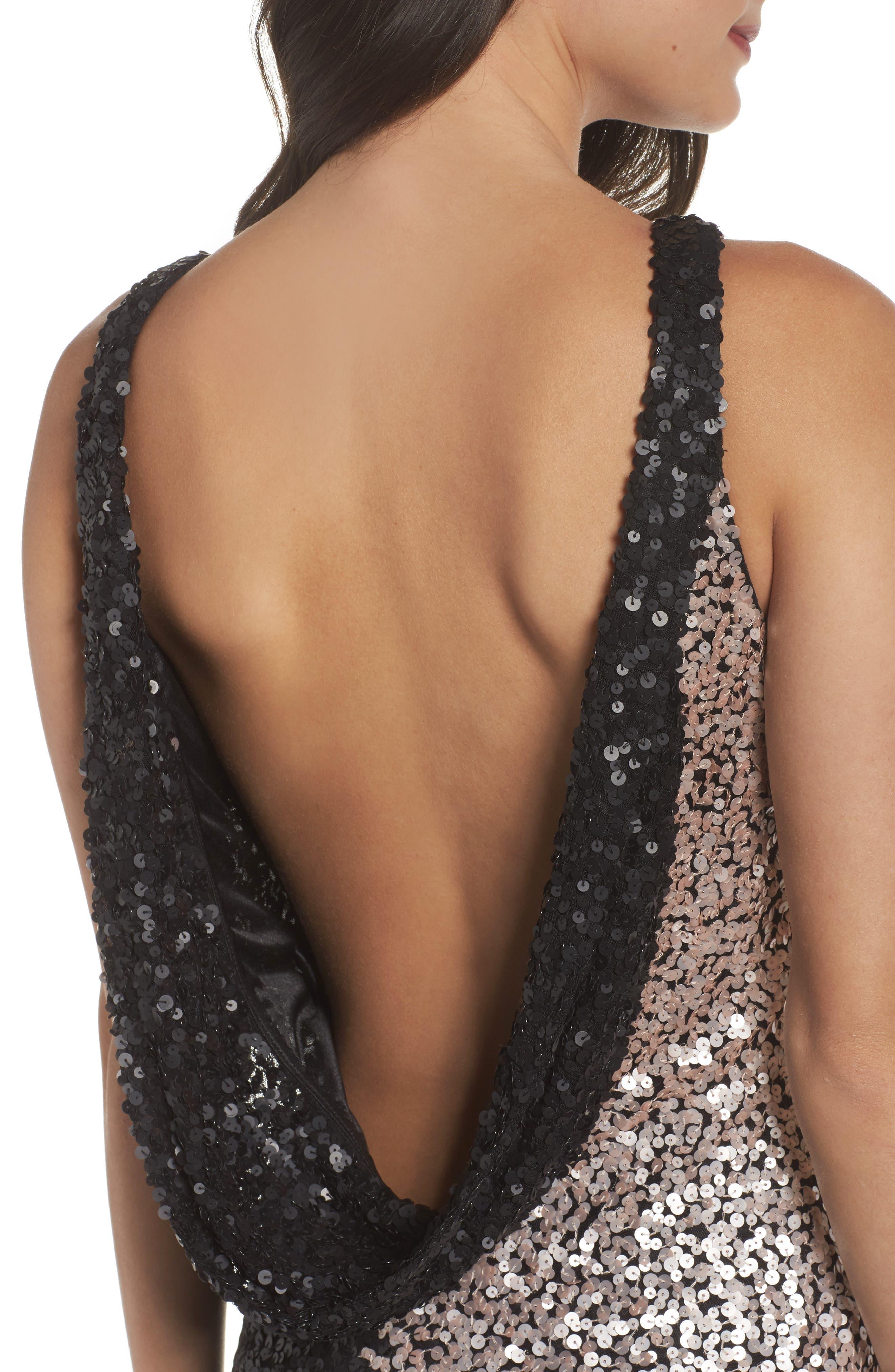 Cowl Back Sequin Gown,                             Alternate thumbnail 4, color,