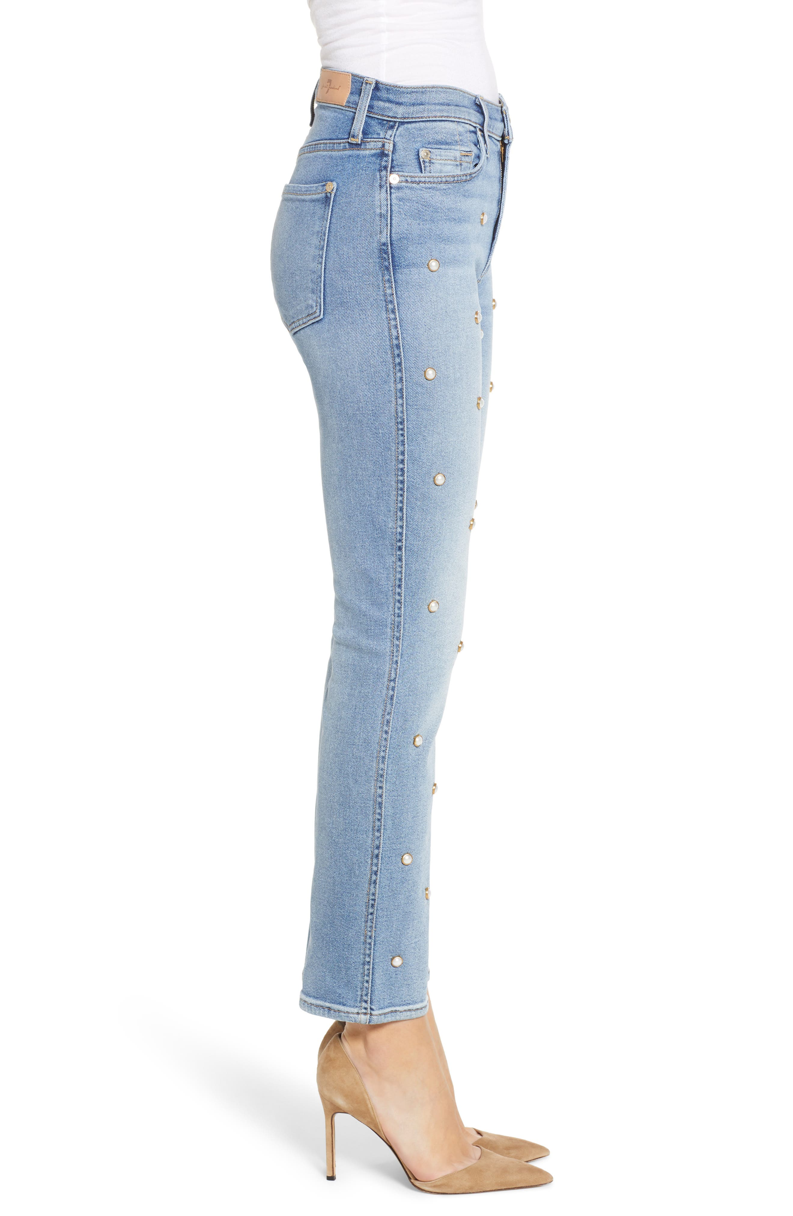 Edie Faux Pearl Detail Ankle Jeans,                             Alternate thumbnail 3, color,                             LUXE VINTAGE FLORA