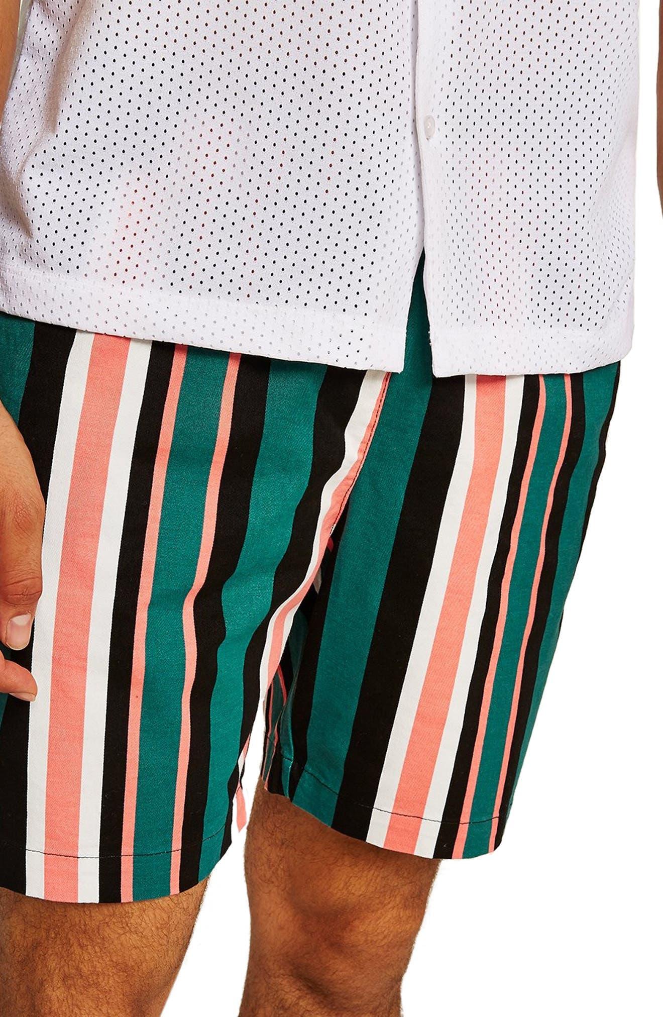 Slim Stripe Shorts,                             Alternate thumbnail 3, color,                             GREEN MULTI
