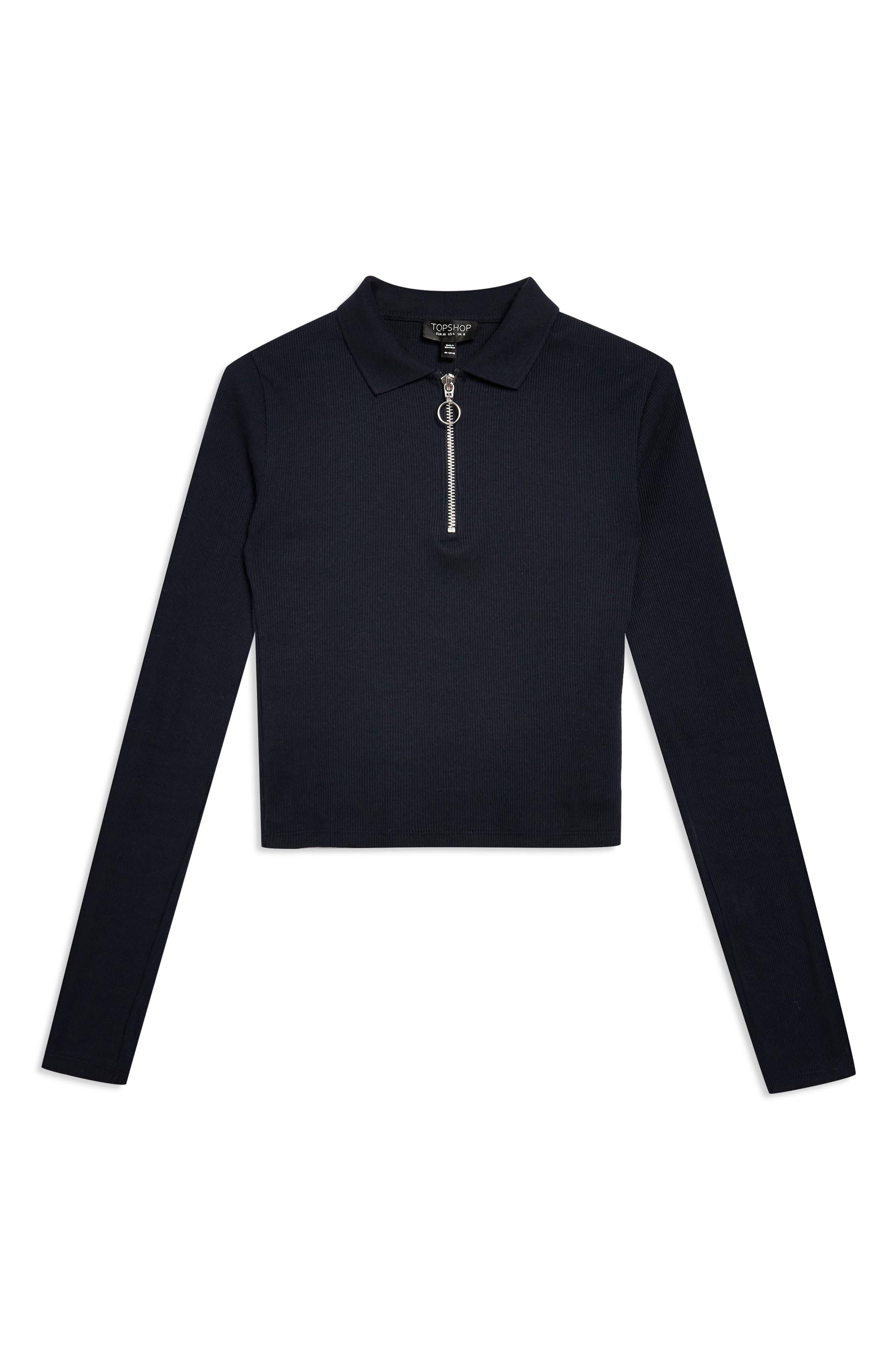 Front Zip Polo Shirt,                             Alternate thumbnail 4, color,                             NAVY BLUE